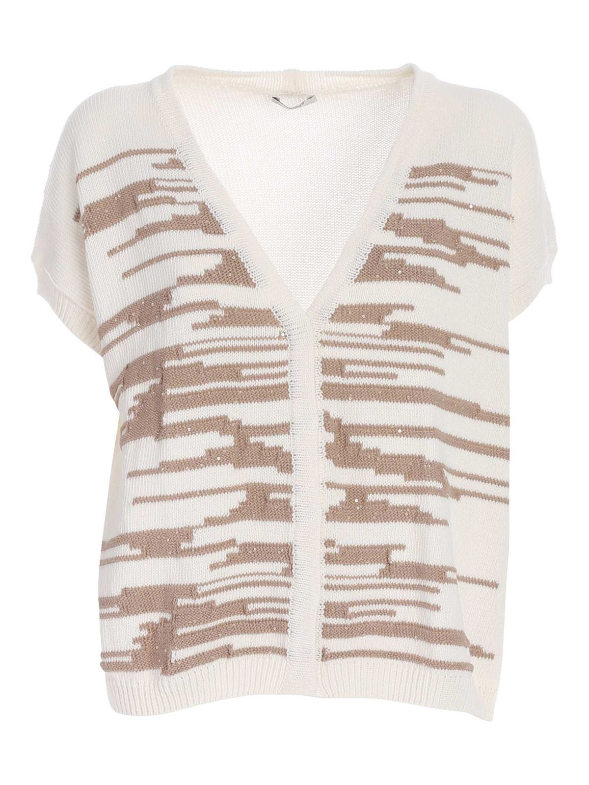 Peserico SHORT SLEEVES CARDIGAN IN WHITE AND BROWN