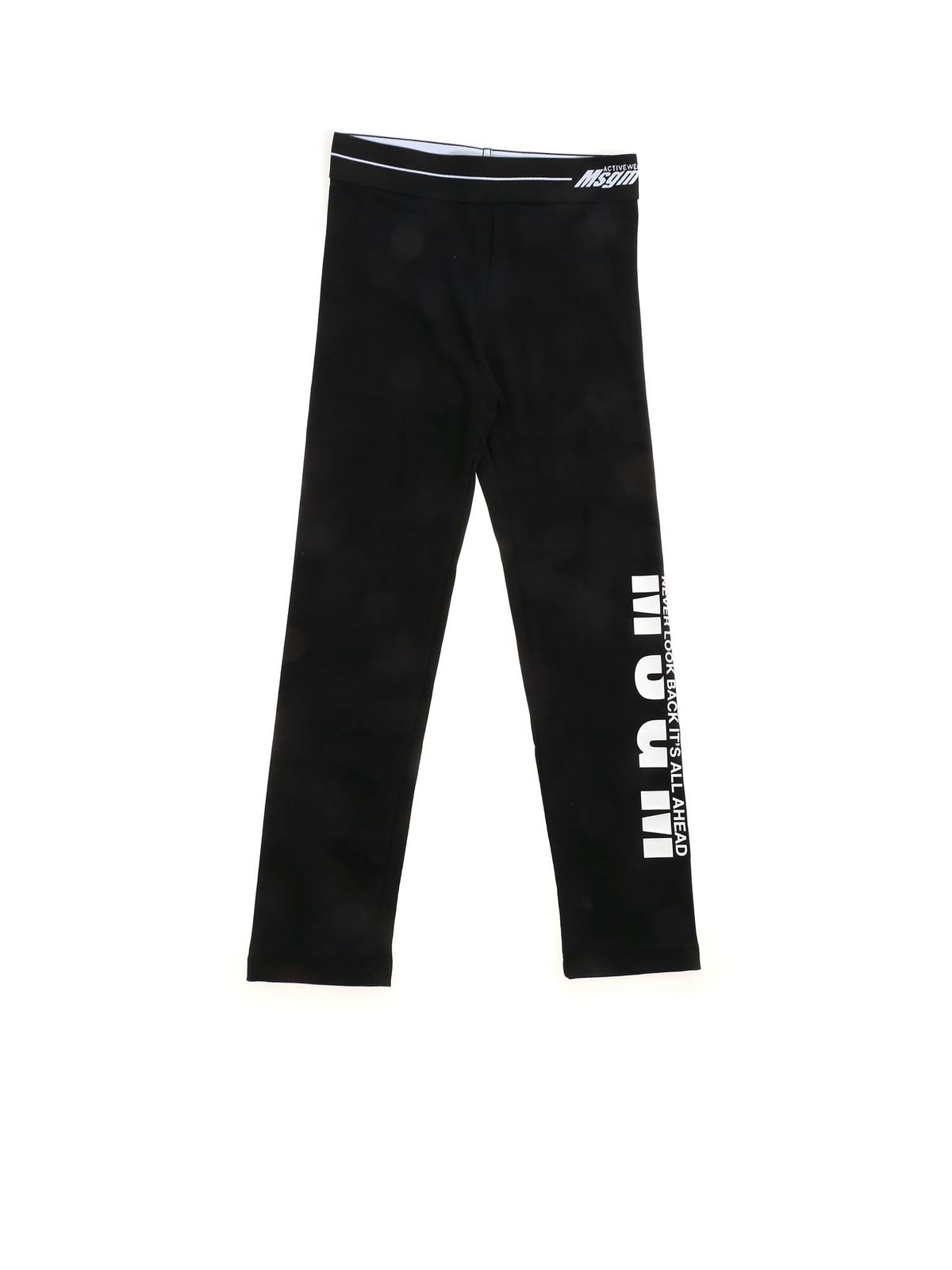 Msgm Cottons NEVER LOOK BACK ITS ALL AHEAD LEGGINGS IN BL