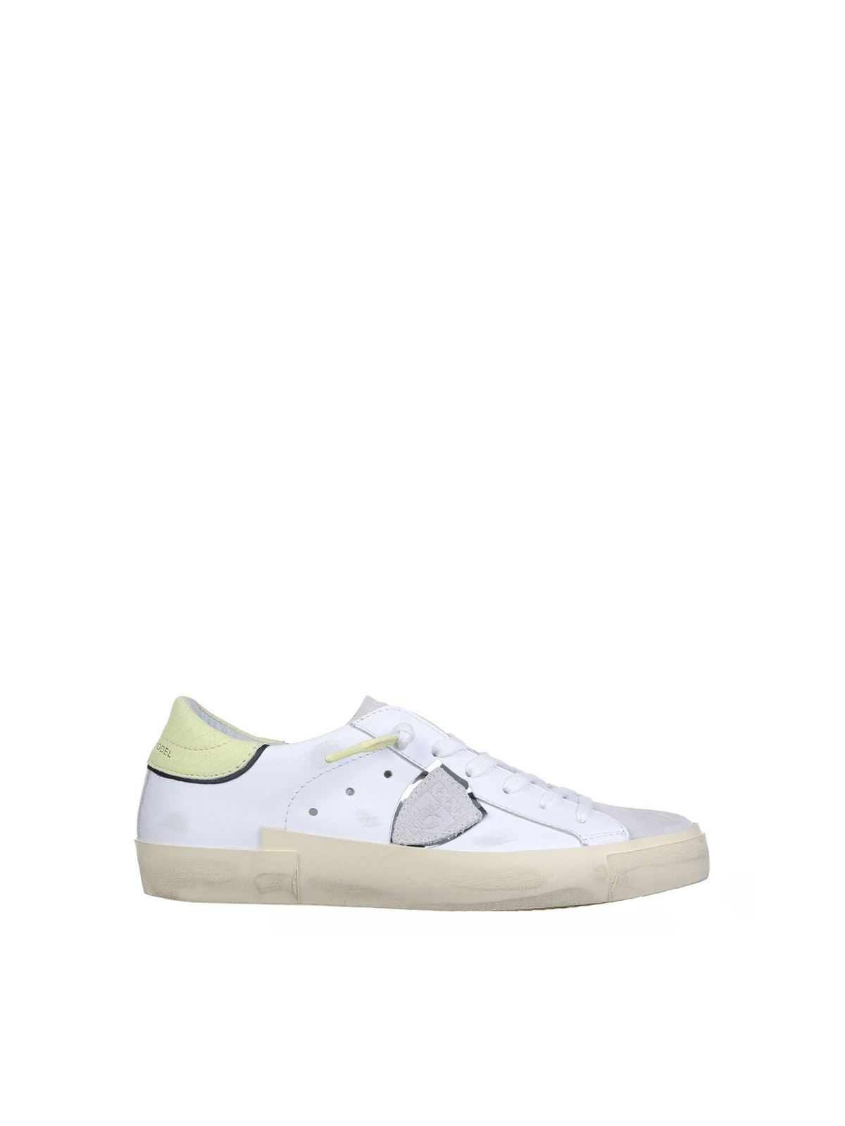 Philippe Model PRSX LOW SNEAKERS IN WHITE AND YELLOW
