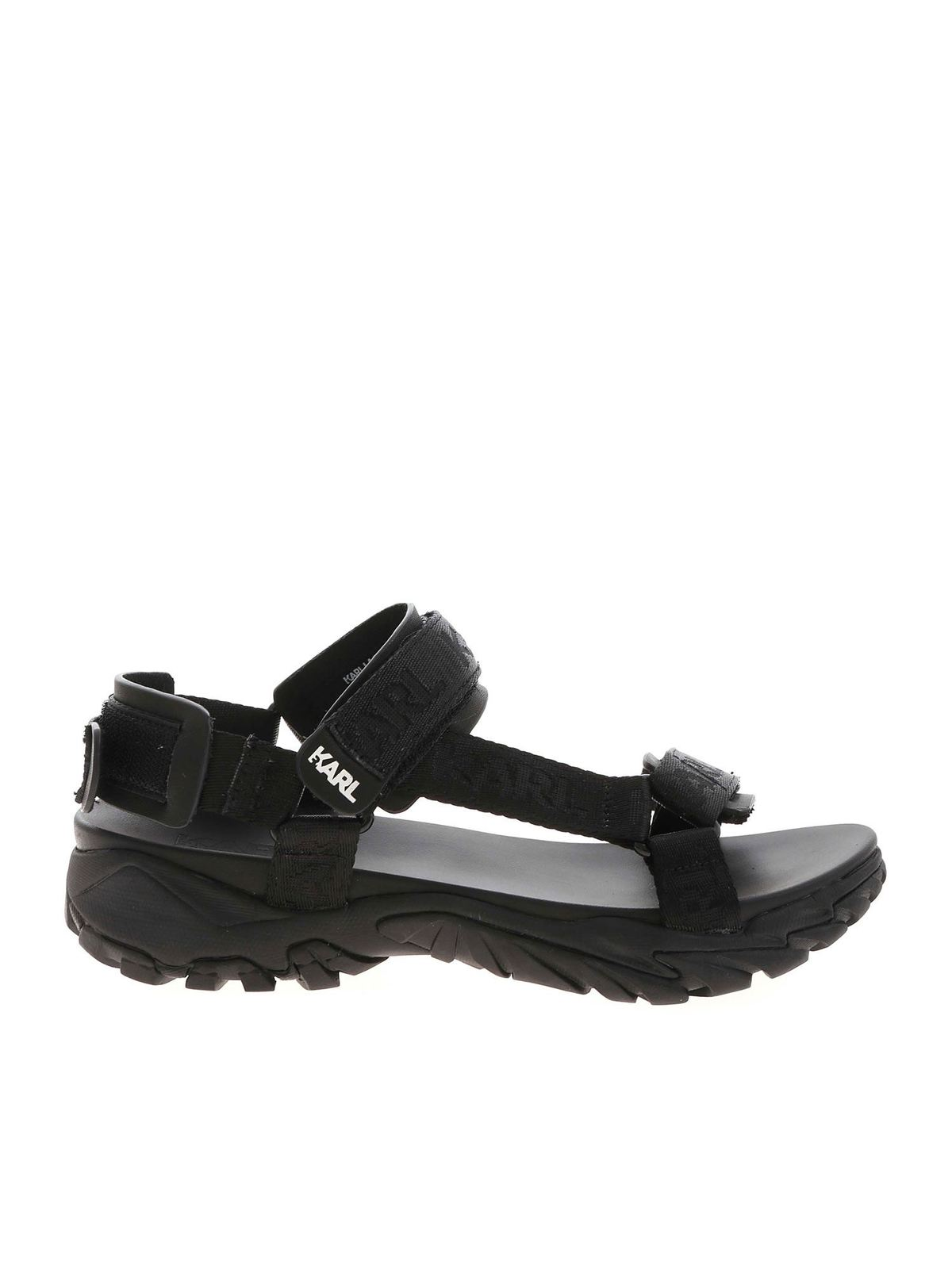 Karl Lagerfeld Leathers VOLT AKTIV SANDALS IN BLACK