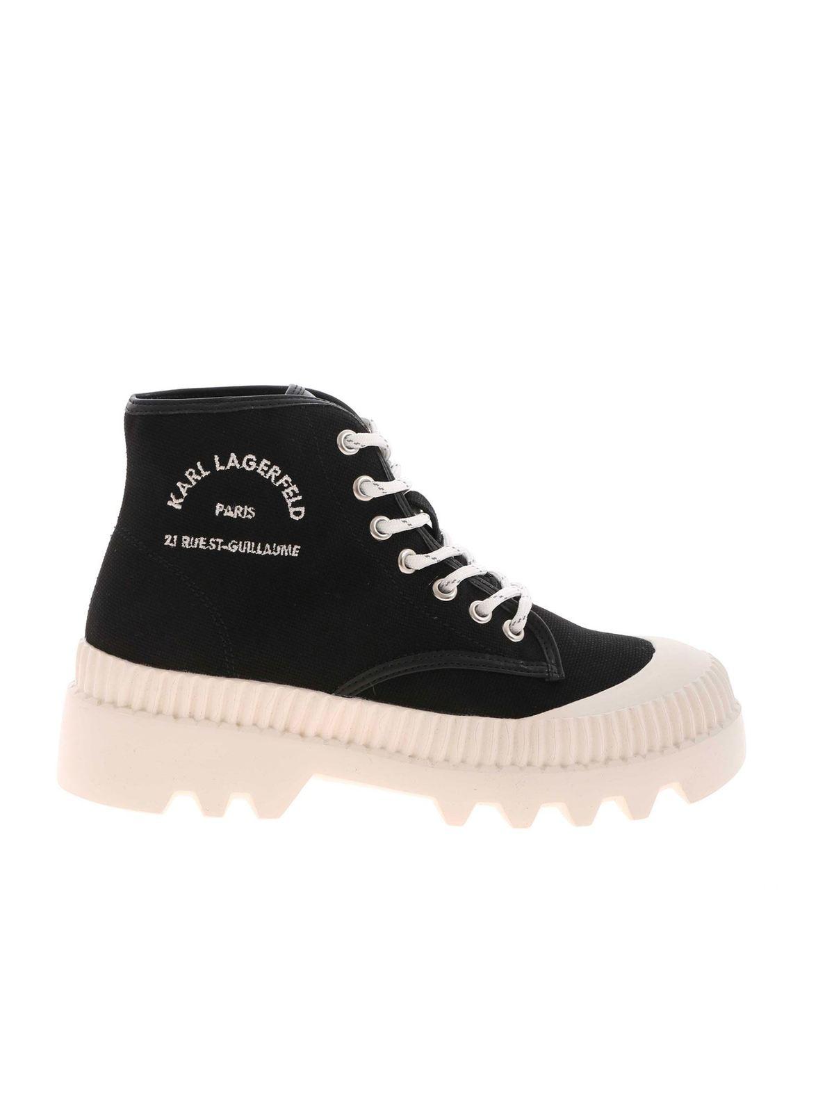 Karl Lagerfeld Sneakers LOGO EMBROIDERY SNEAKERS IN BLACK