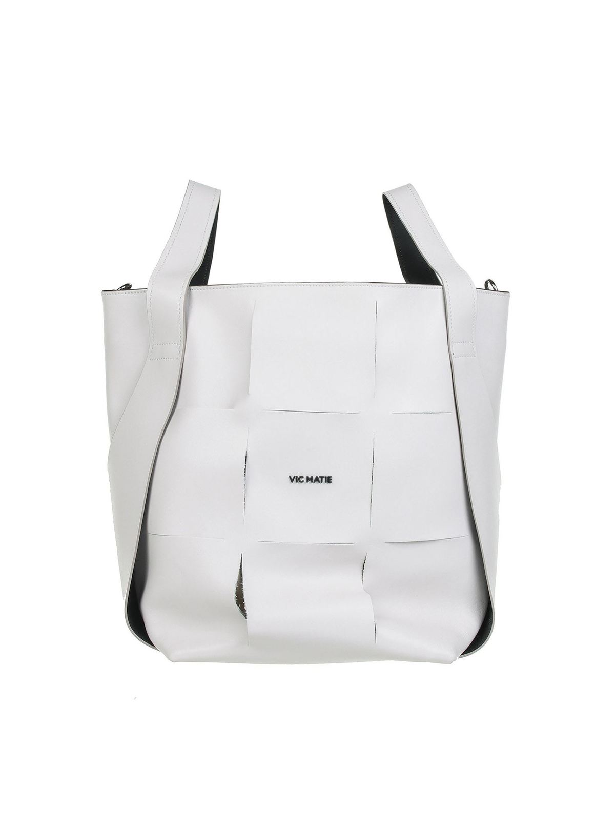 Vic Matie Leathers NADEGE BUCKET BAG IN WHITE
