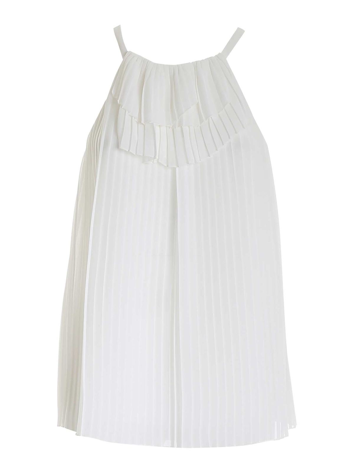 Emporio Armani Linings PLEATED TOP IN WHITE