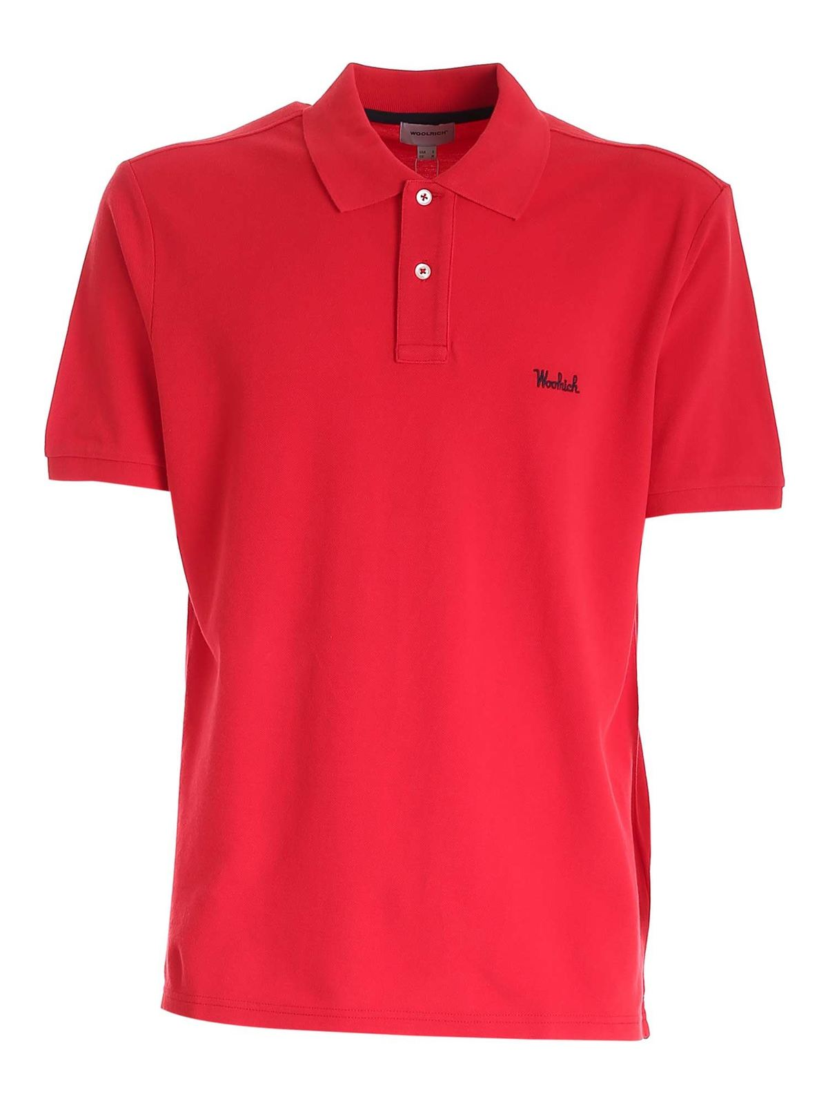 Woolrich Cottons LOGO EMBROIDERY POLO SHIRT IN RED