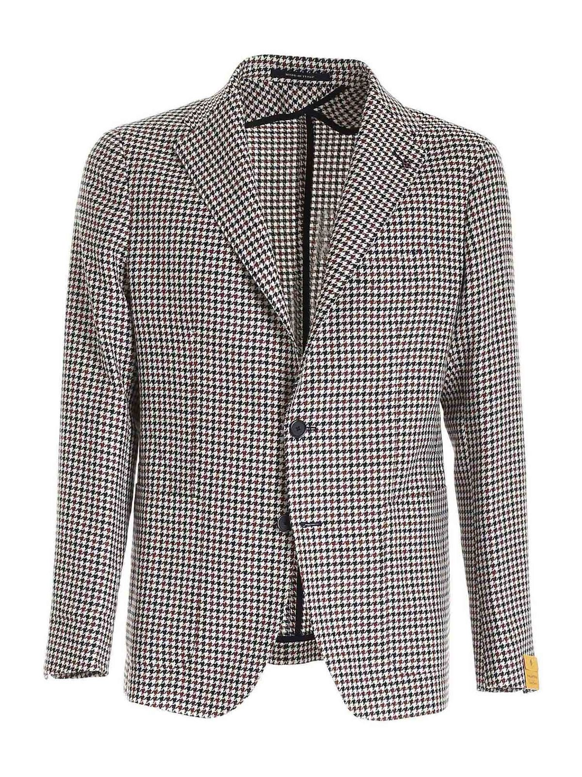 Tagliatore HOUNDSTOOTH JACKET IN WHITE AND BROWN