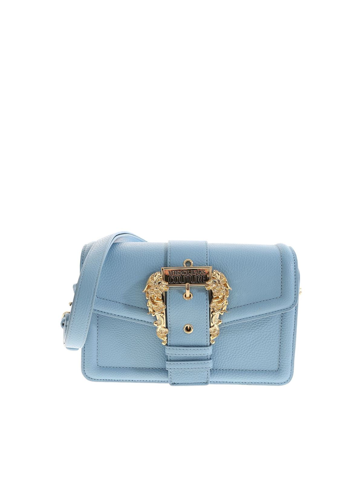 Versace Leathers BAROQUE BUCKLE BAG IN LIGHT BLUE