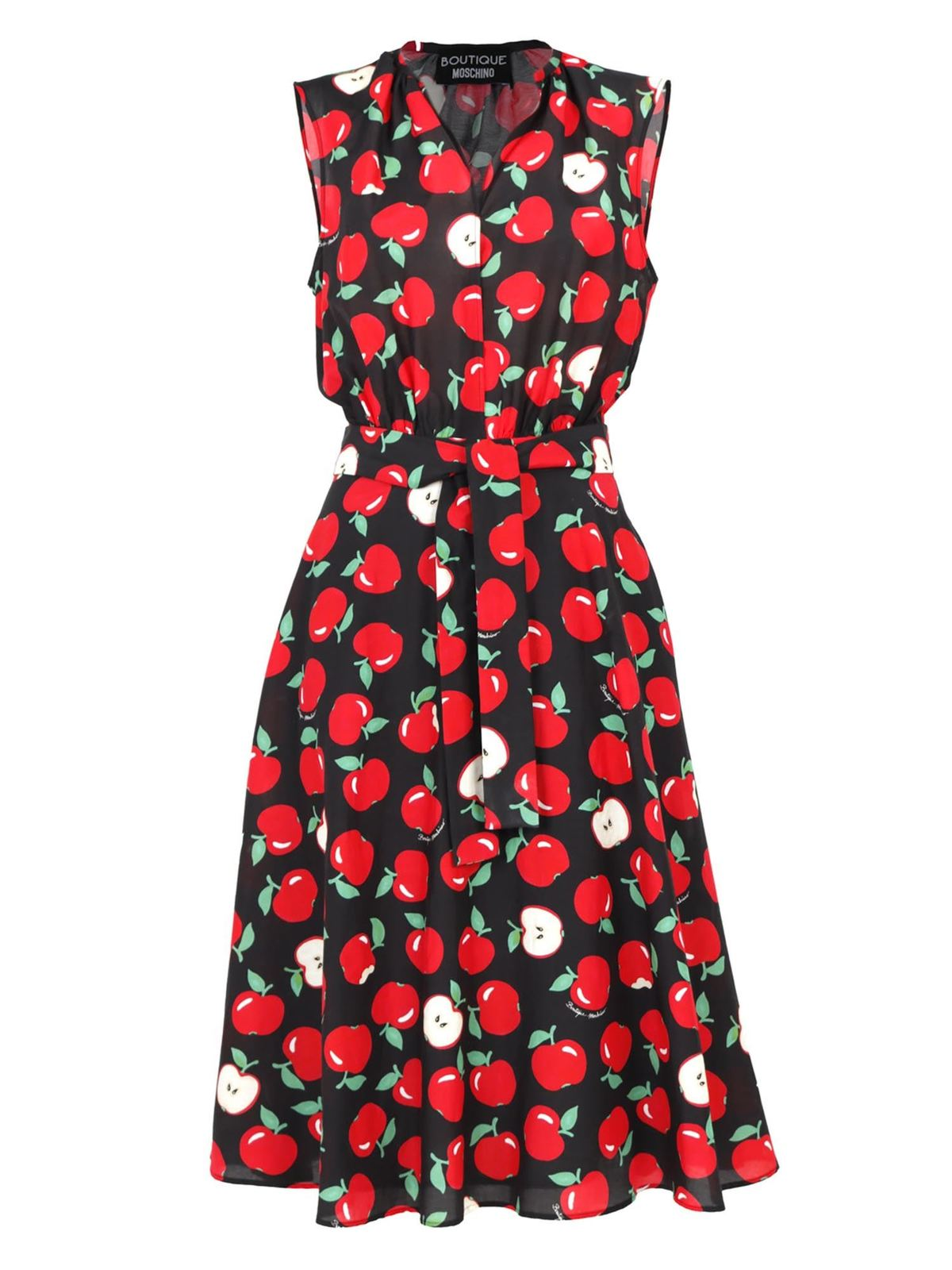 Moschino Boutique Silks APPLE PRINTED DRESS IN BLACK AND RED