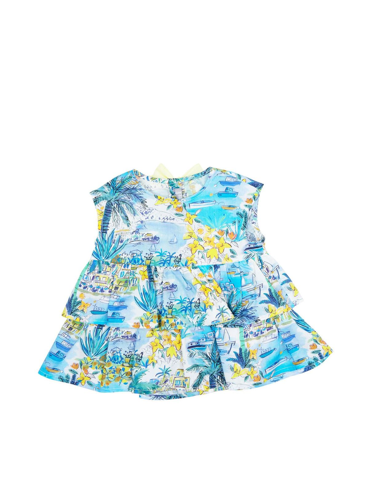 Il Gufo Cottons BOATS PRINTED BOW TOP IN LIGHT BLUE