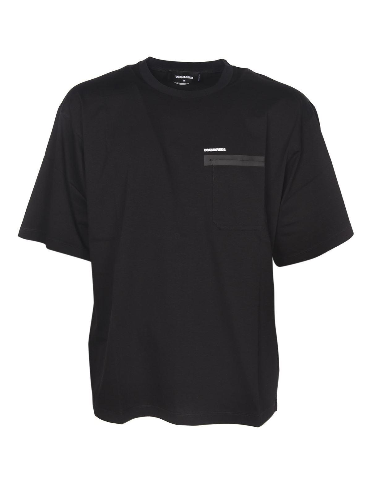 Dsquared2 Cottons POCKET LOGO T-SHIRT IN BLACK