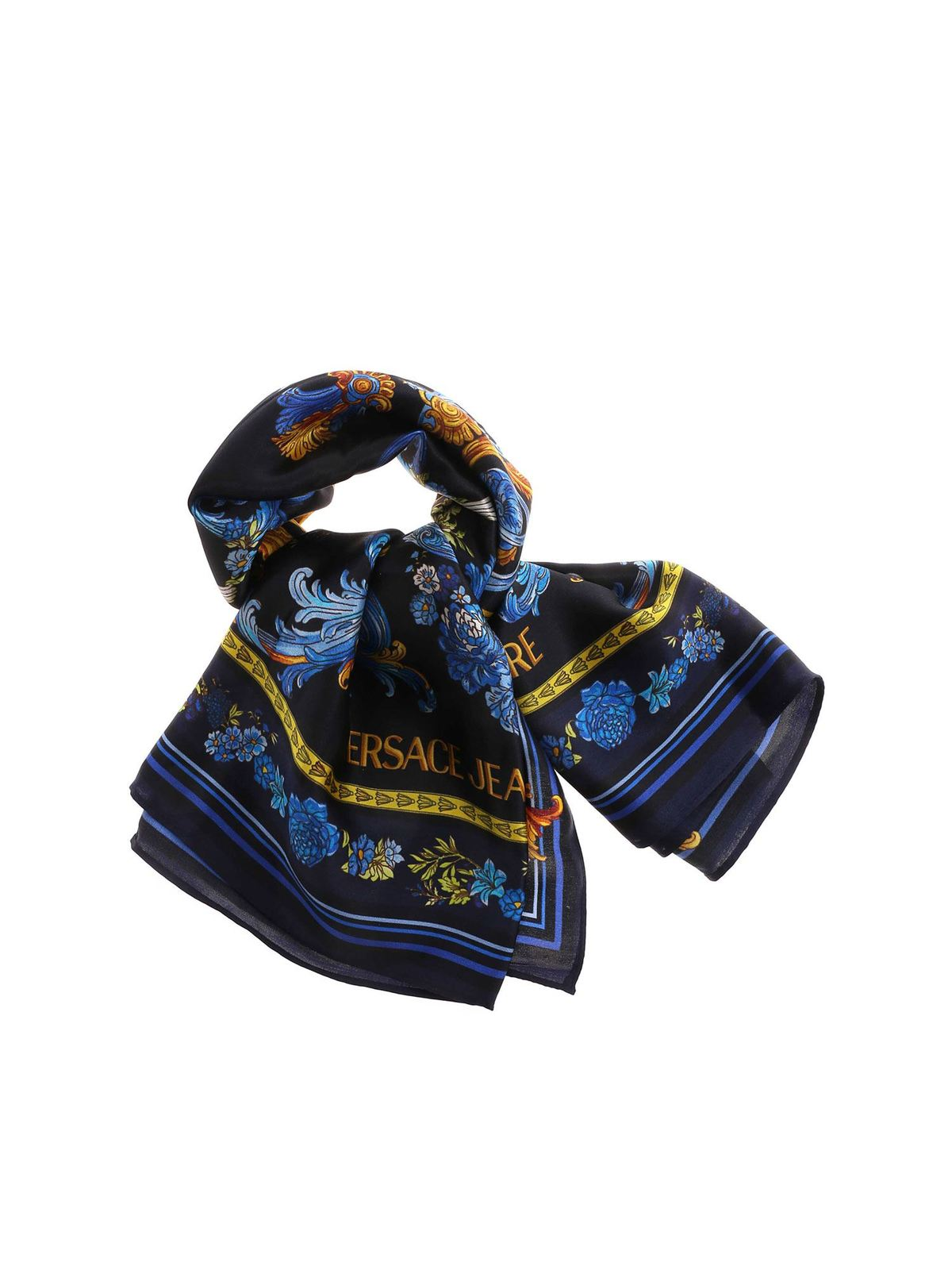 Versace Jeans Couture Scarves VERSAILLES PRINT SILK SCARF IN BLACK