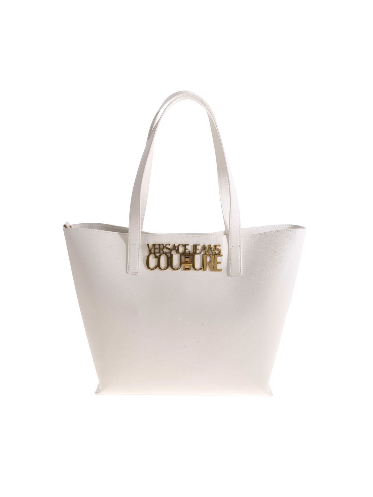 Versace Leathers LETTERING LOGO SHOPPER BAG IN WHITE