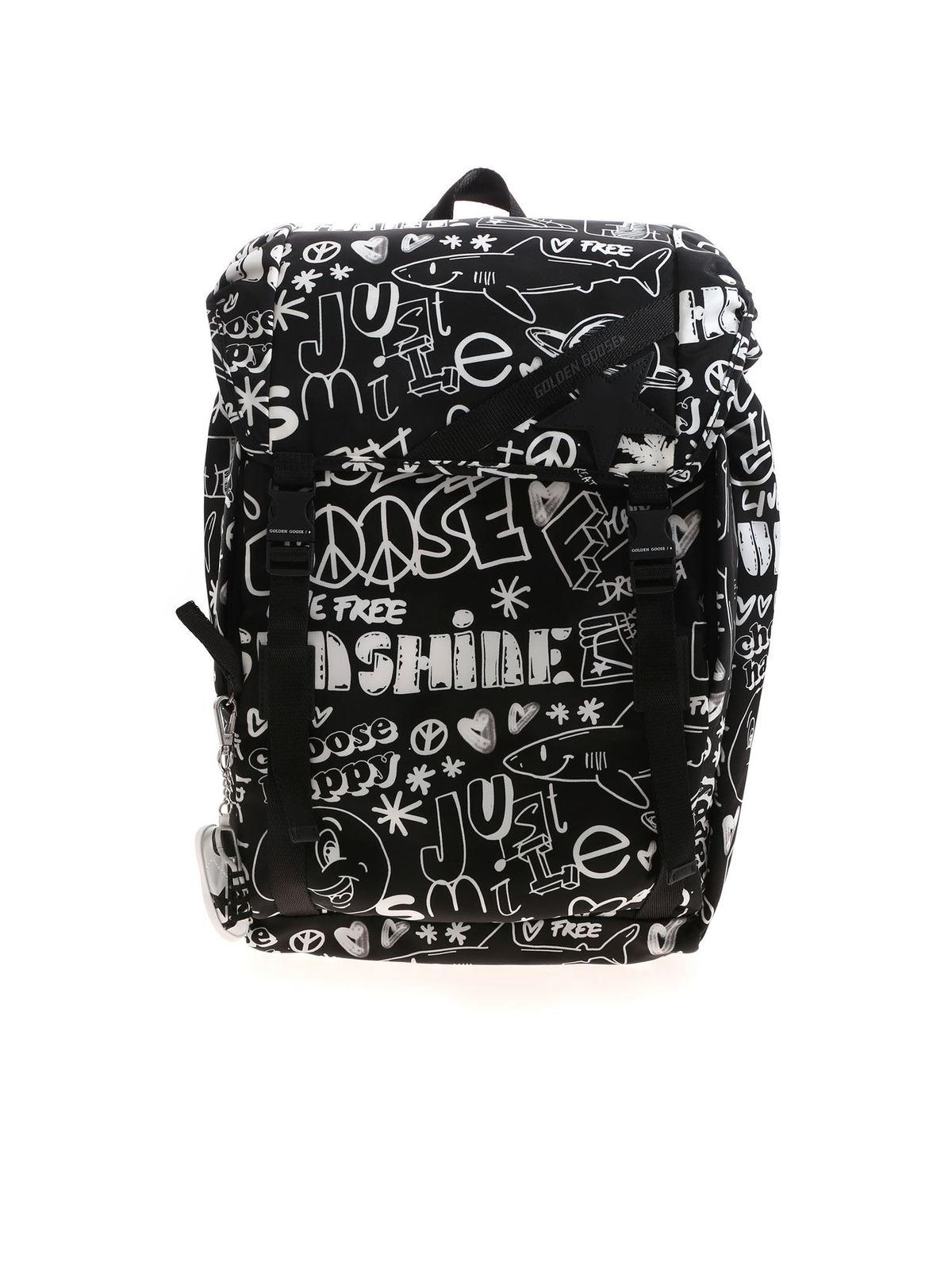 Golden Goose Backpacks PRINTED JOURNEY BACKPACK IN BLACK AND WHITE