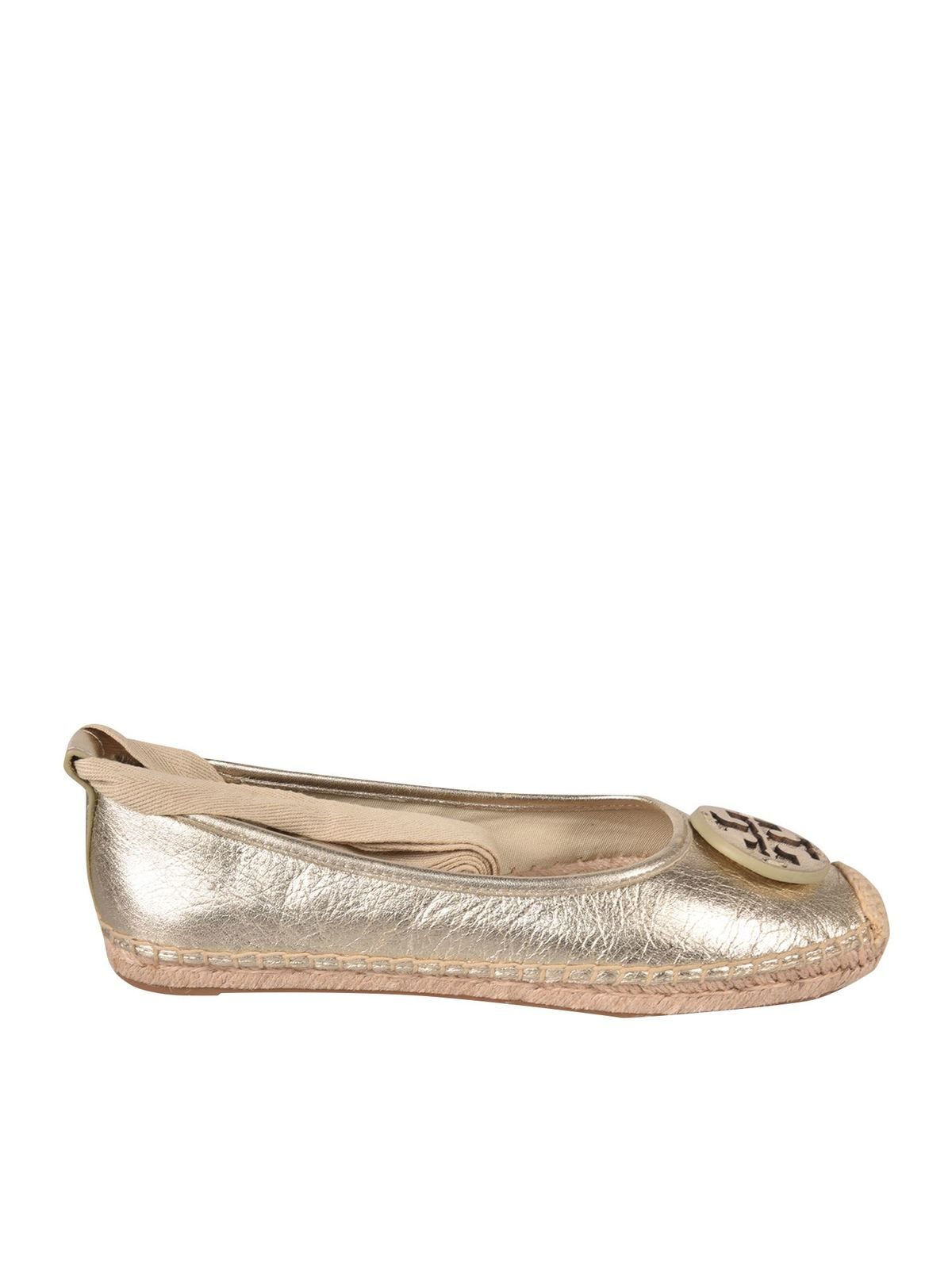 Tory Burch Ballerinas MINNIE ESPADRILLES IN SPARK GOLD COLOR
