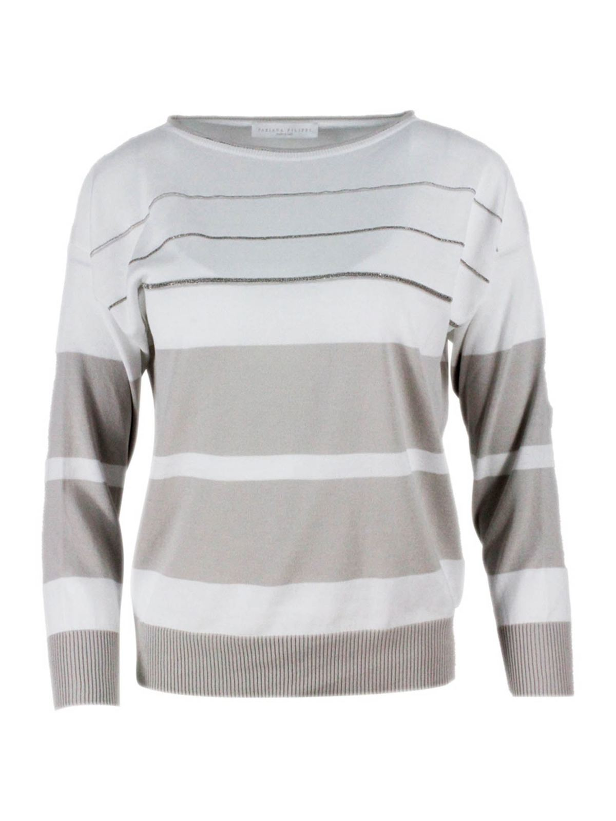 Fabiana Filippi STRIPED SWEATER IN WHITE AND BEIGE