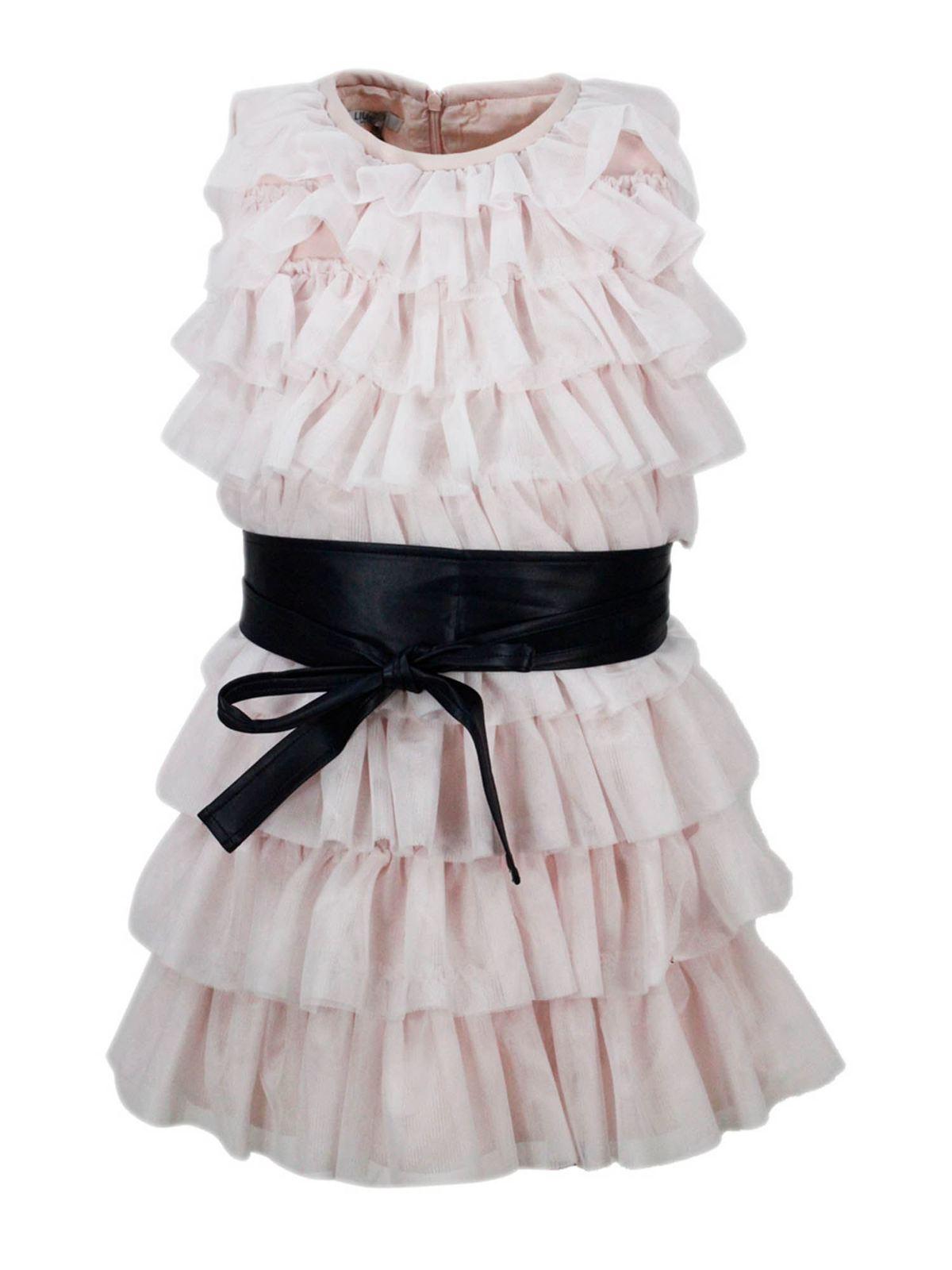 Liu •jo Kids' Flounced Dress In Pink
