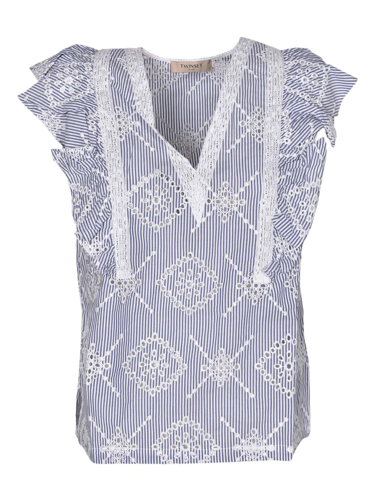 Twinset EMBROIDERED STRIPED TOP IN WHITE AND BLUE
