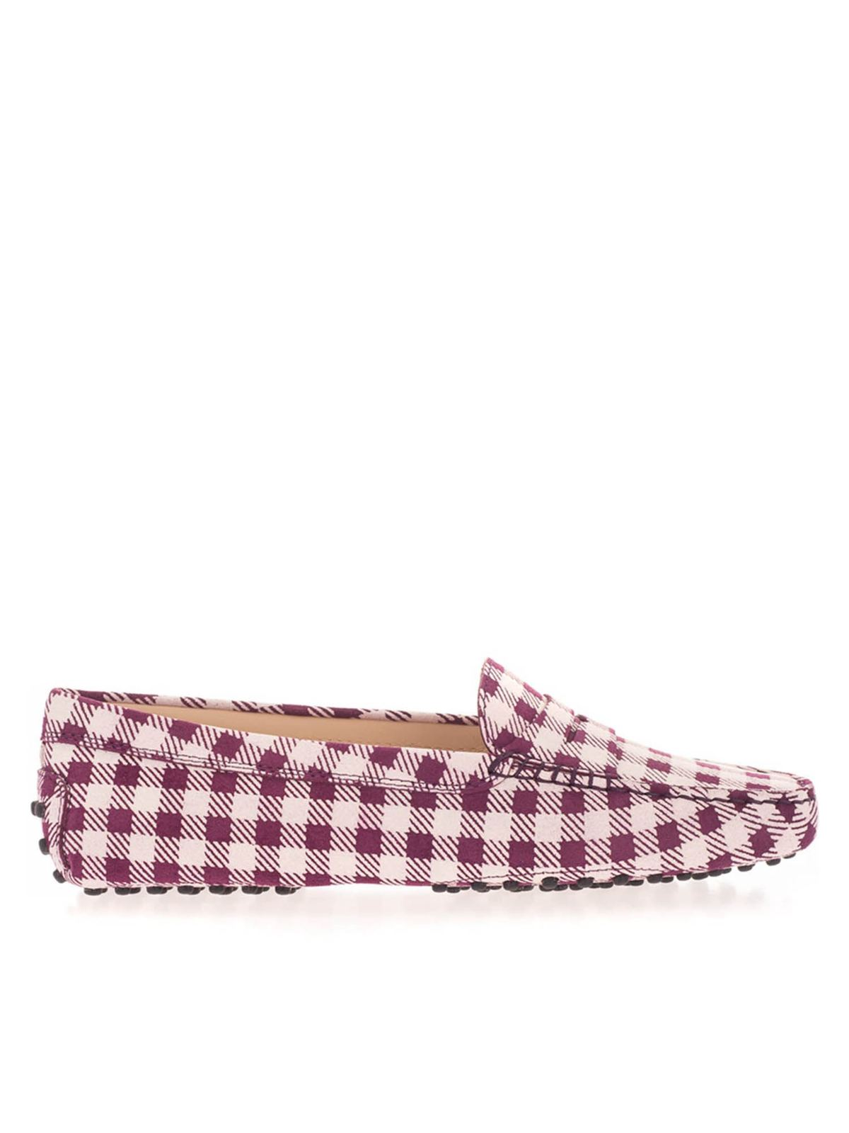 Tod's GOMMINO CHECKED LOAFERS IN PURPLE AND WHITE