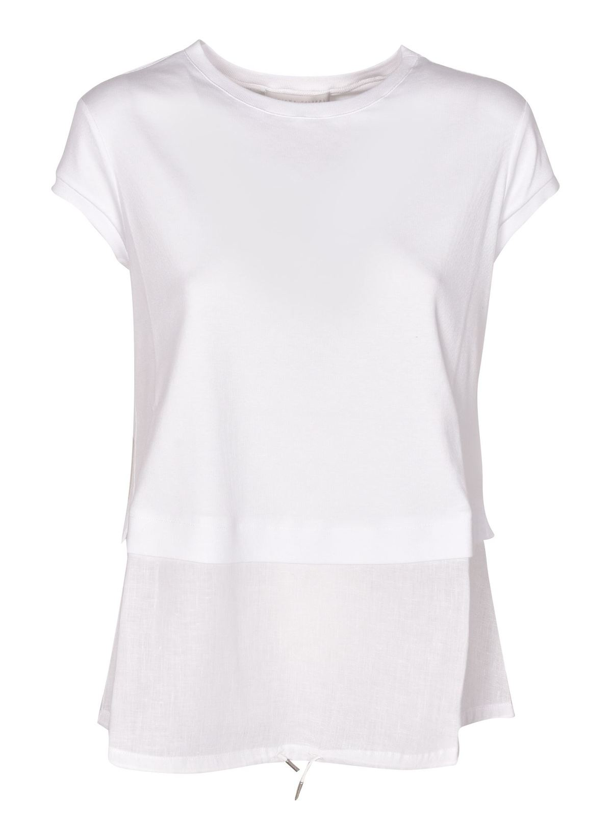 Fabiana Filippi DRAWSTRING T-SHIRT IN WHITE