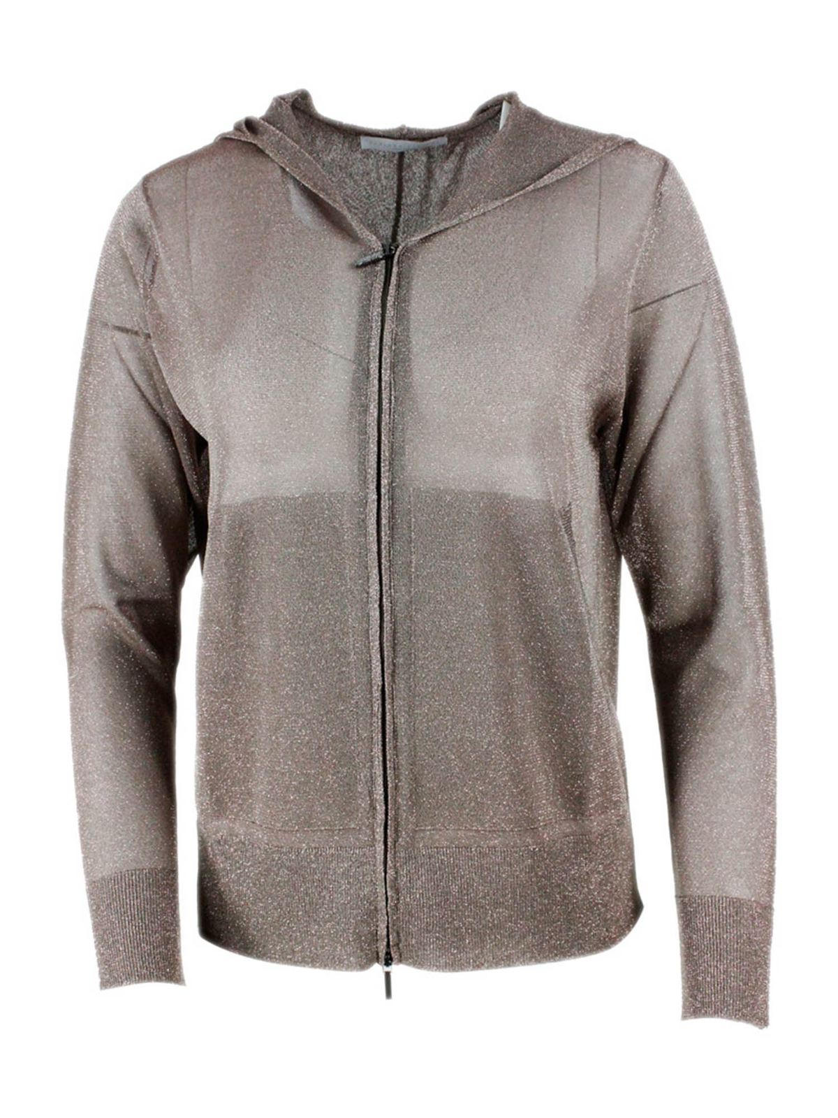 Fabiana Filippi LUREX ZIPPED CARDIGAN IN TAUPE COLOR