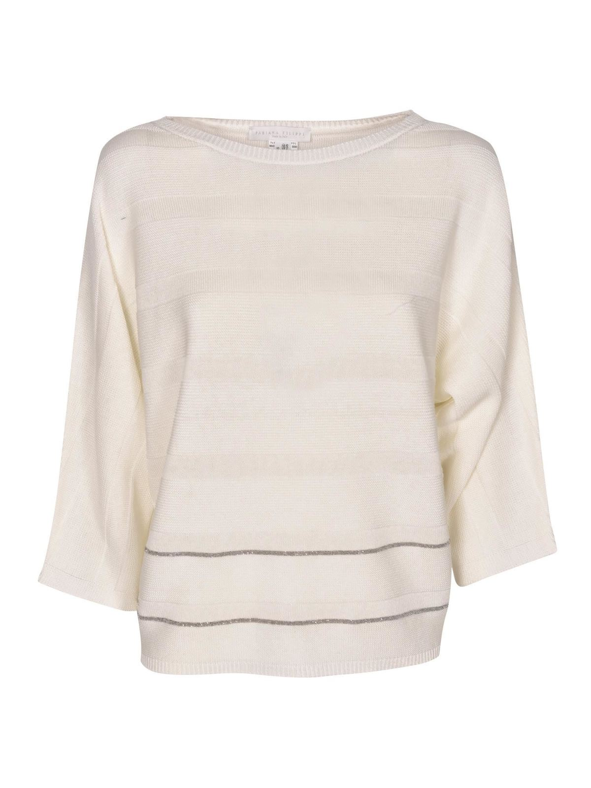 Fabiana Filippi MICRO BEADS RIBBED SWEATER IN WHITE