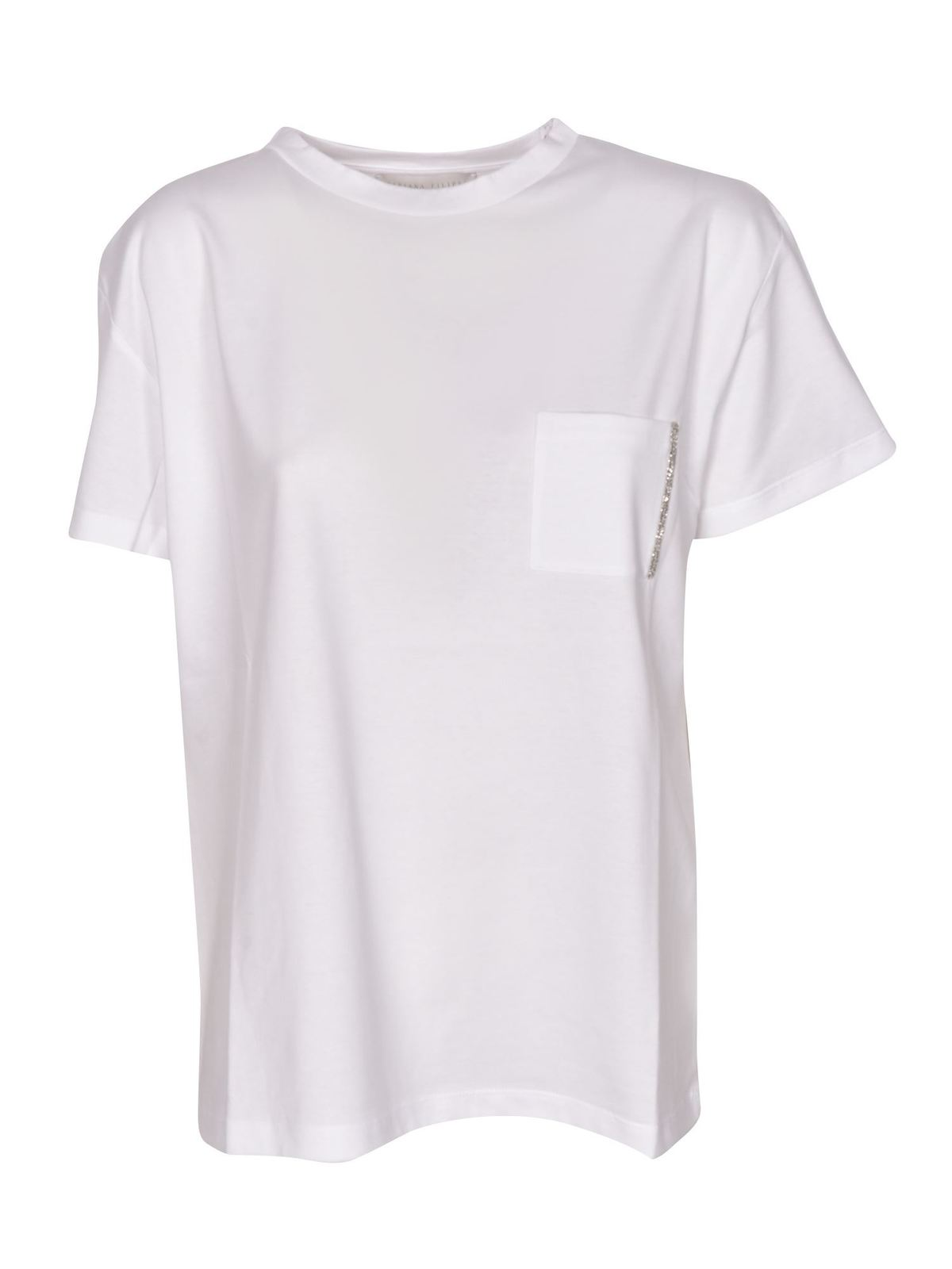 Fabiana Filippi EMBELLISHED-POCKET T-SHIRT IN WHITE