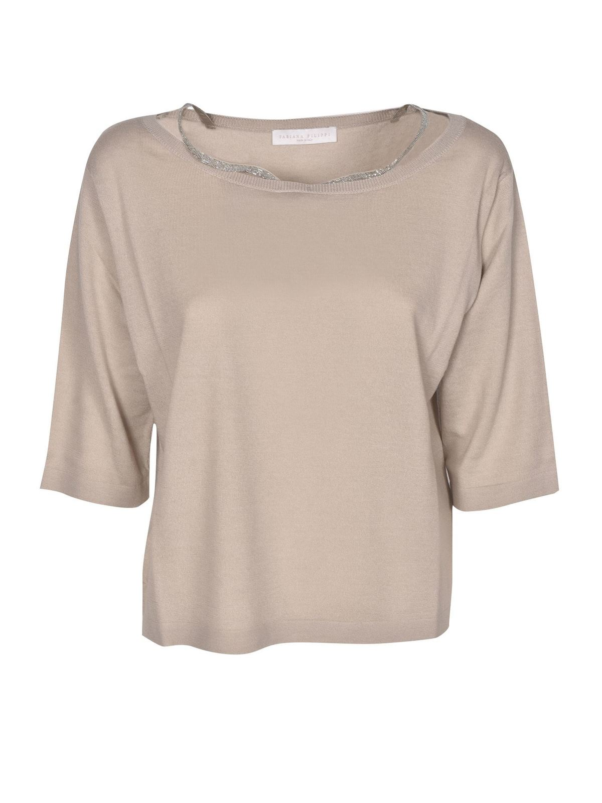 Fabiana Filippi MICROBEADS INSERT SWEATER IN SAND COLOR