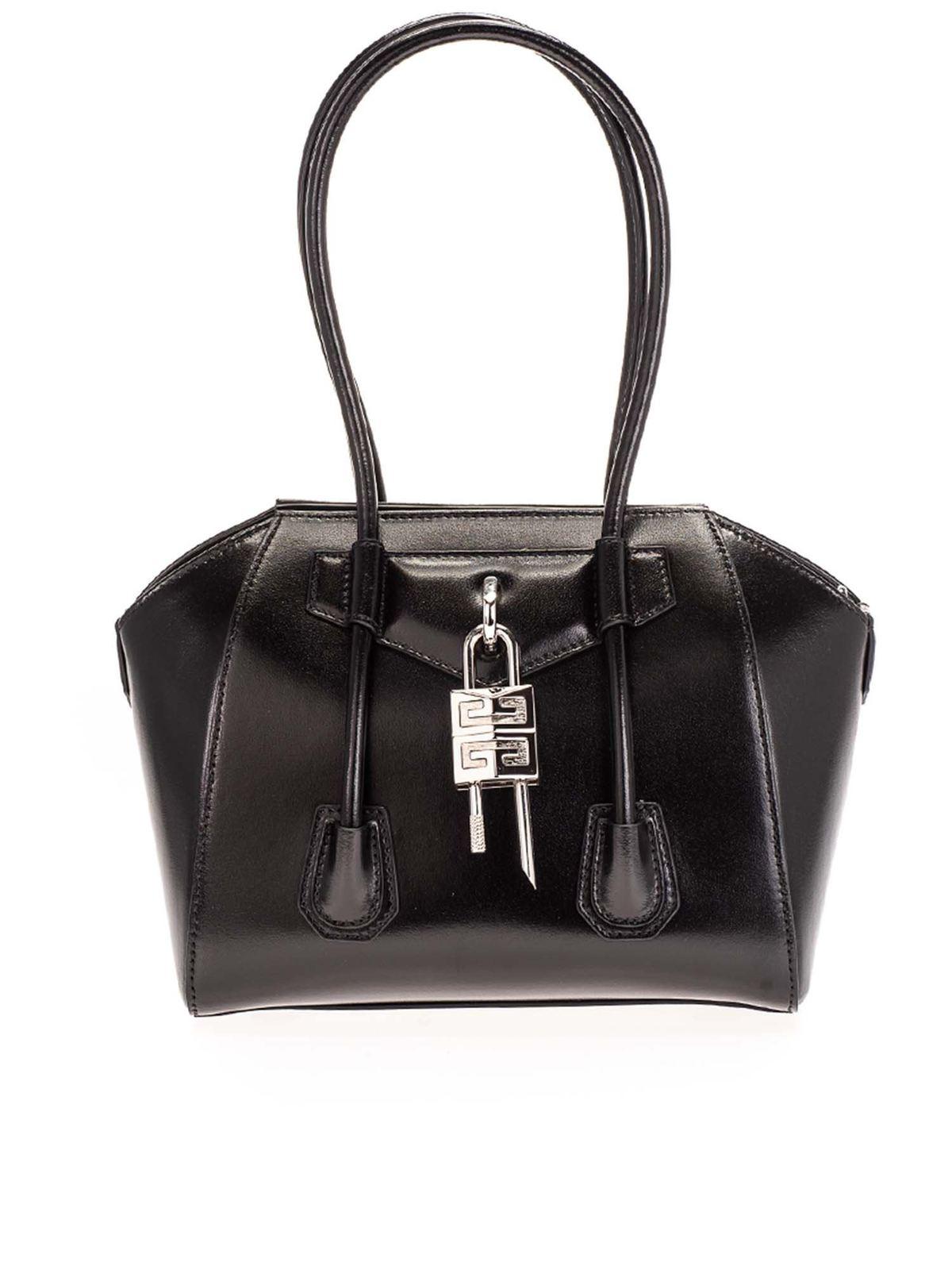 Givenchy Leathers MINI ANTIGONA LOCK BAG IN BLACK