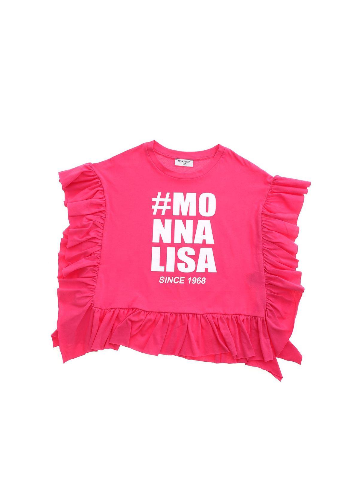 Monnalisa RUFFLES T-SHIRT IN FUCHSIA