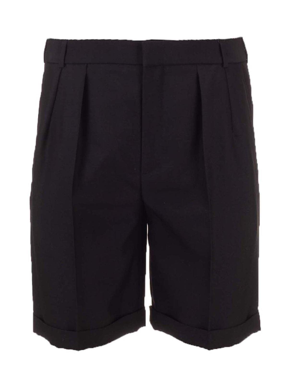 Saint Laurent Shorts TAILORED BERMUDA SHORTS IN BLACK