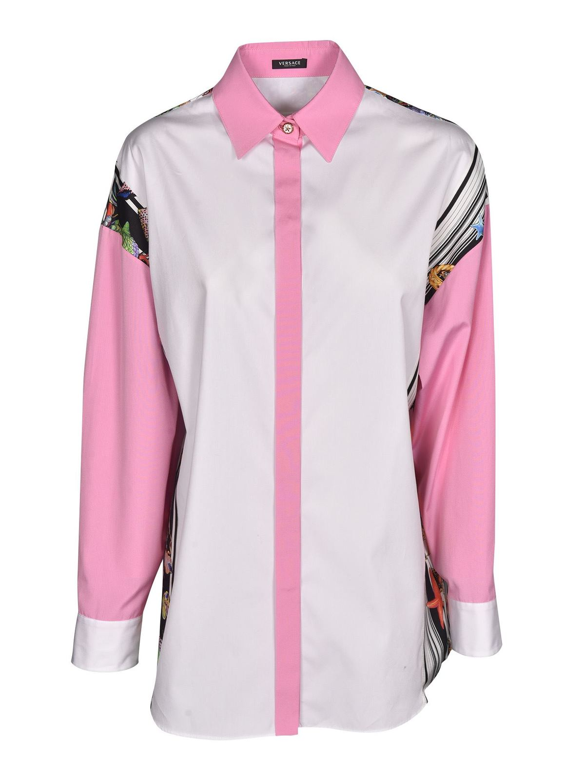 Versace PRINTED SHIRT IN PINK AND WHITE
