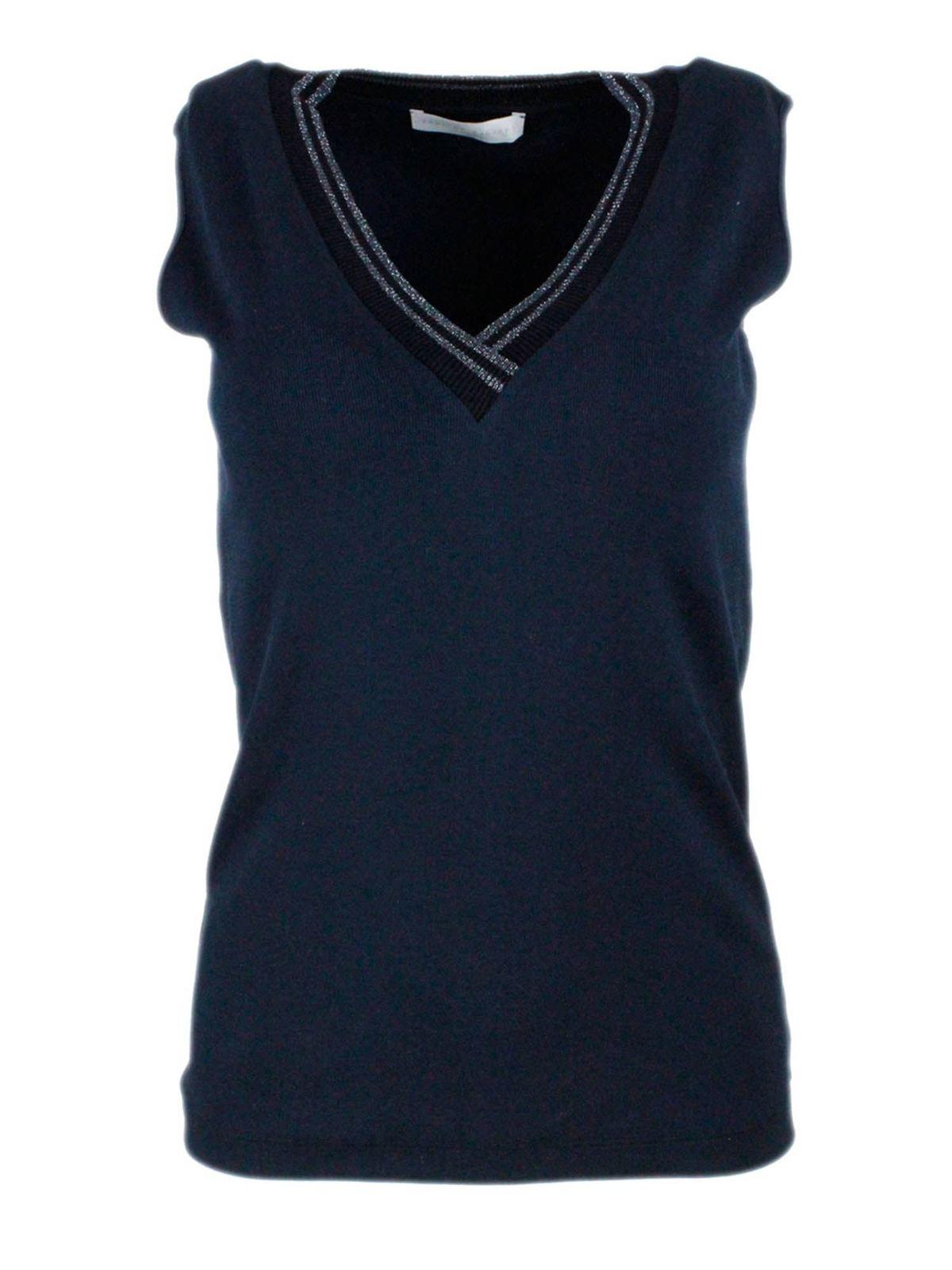 Fabiana Filippi Cottons LUREX KNITTED NECKLINE T-SHIRT IN BLUE