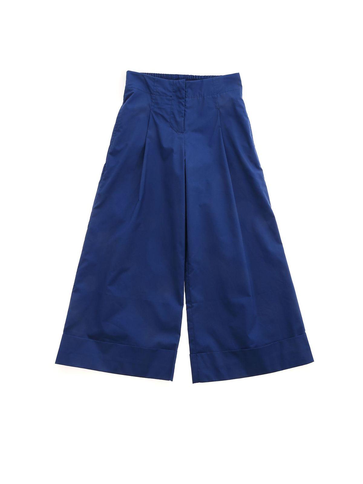 Monnalisa Cottons TURNED-UP HEM PANTS IN BLUE
