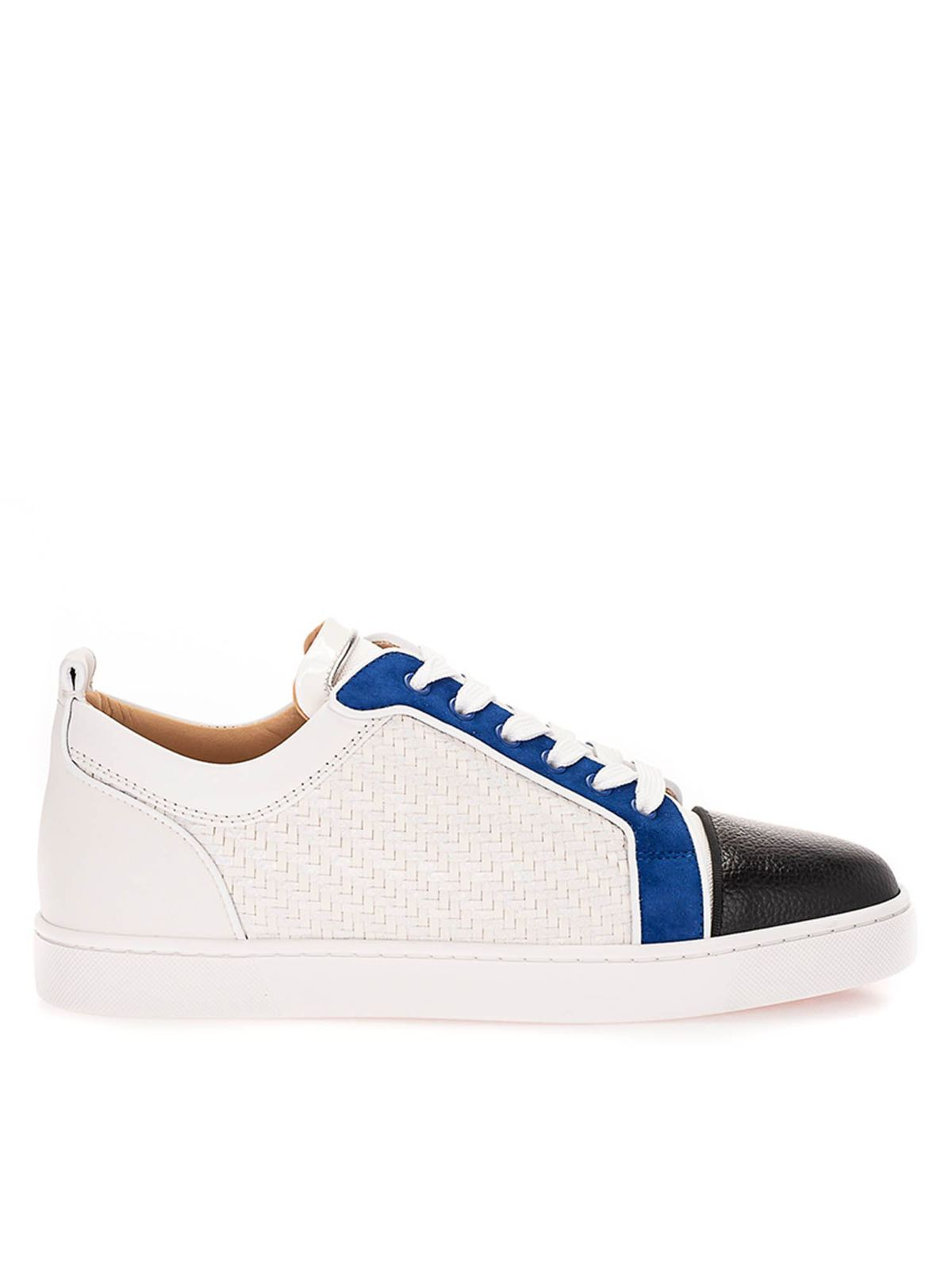 Christian Louboutin Suedes WOVEN SNEAKERS IN WHITE AND BLUE