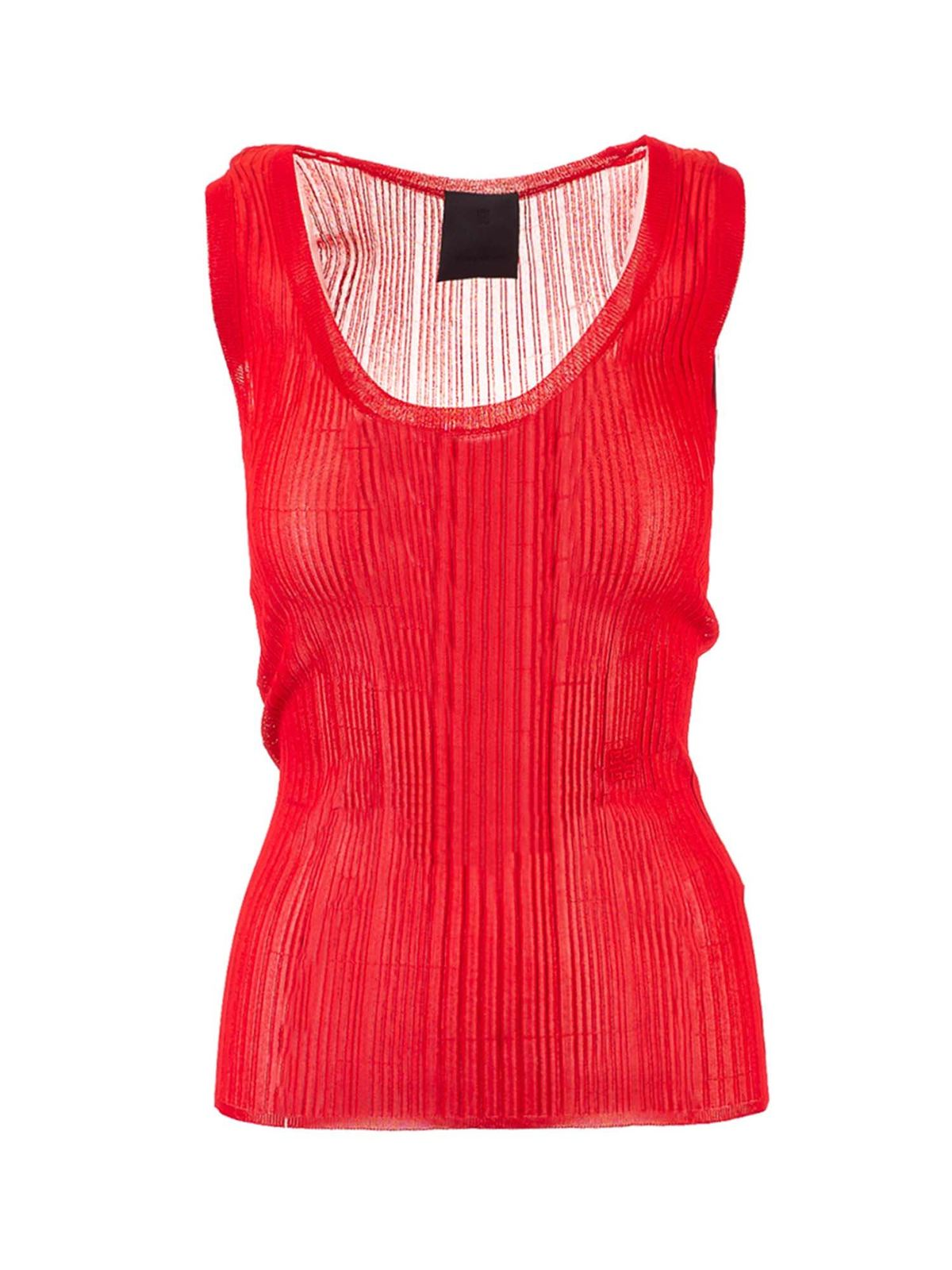 Givenchy Clothing TRANSPARENT SLIM FIT TANK TOP IN RED