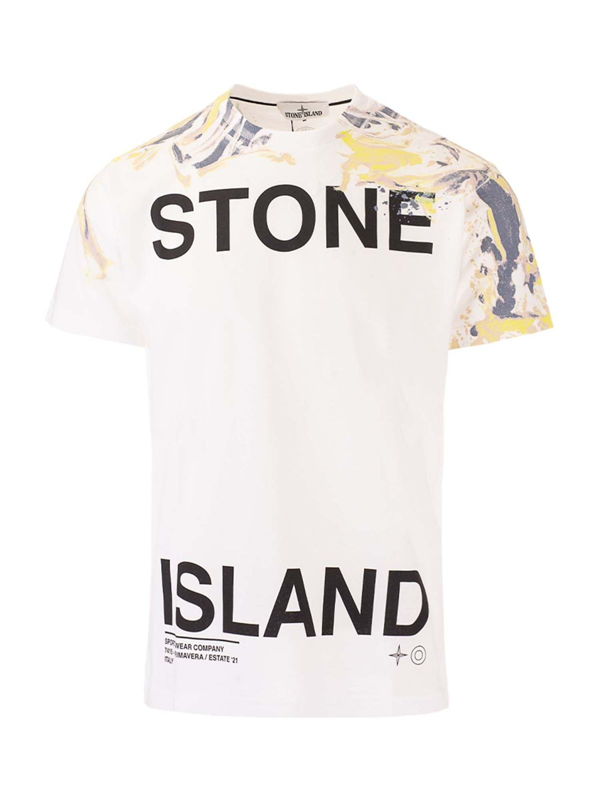Stone Island MARBLE TWO PRINTED T-SHIRT IN WHITE