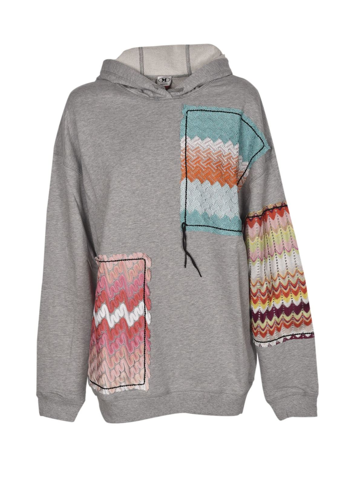 Missoni PATCHWORK OVERSIZED HOODIE IN GREY