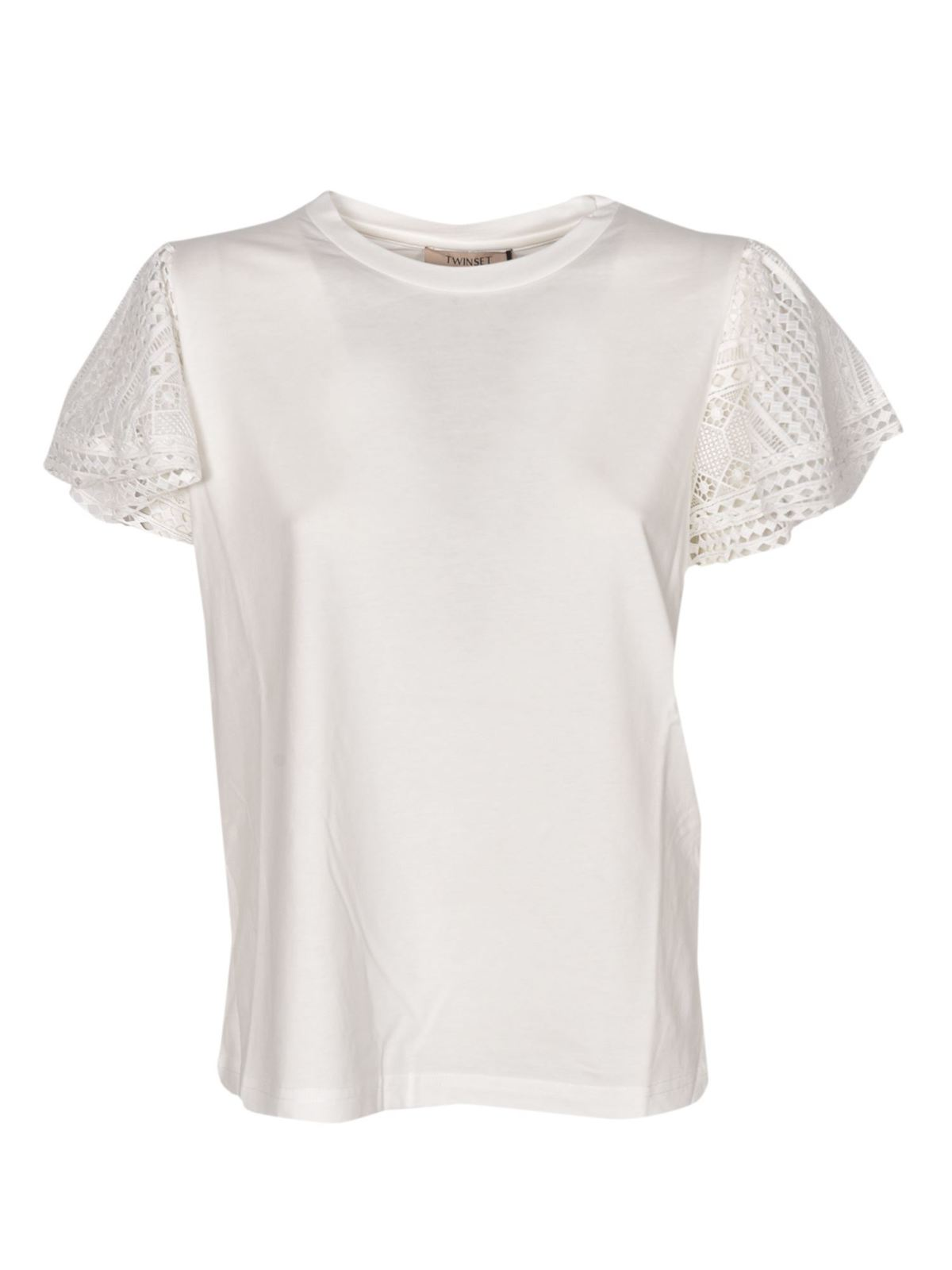 Twinset LACE SLEEVES T-SHIRT IN WHITE