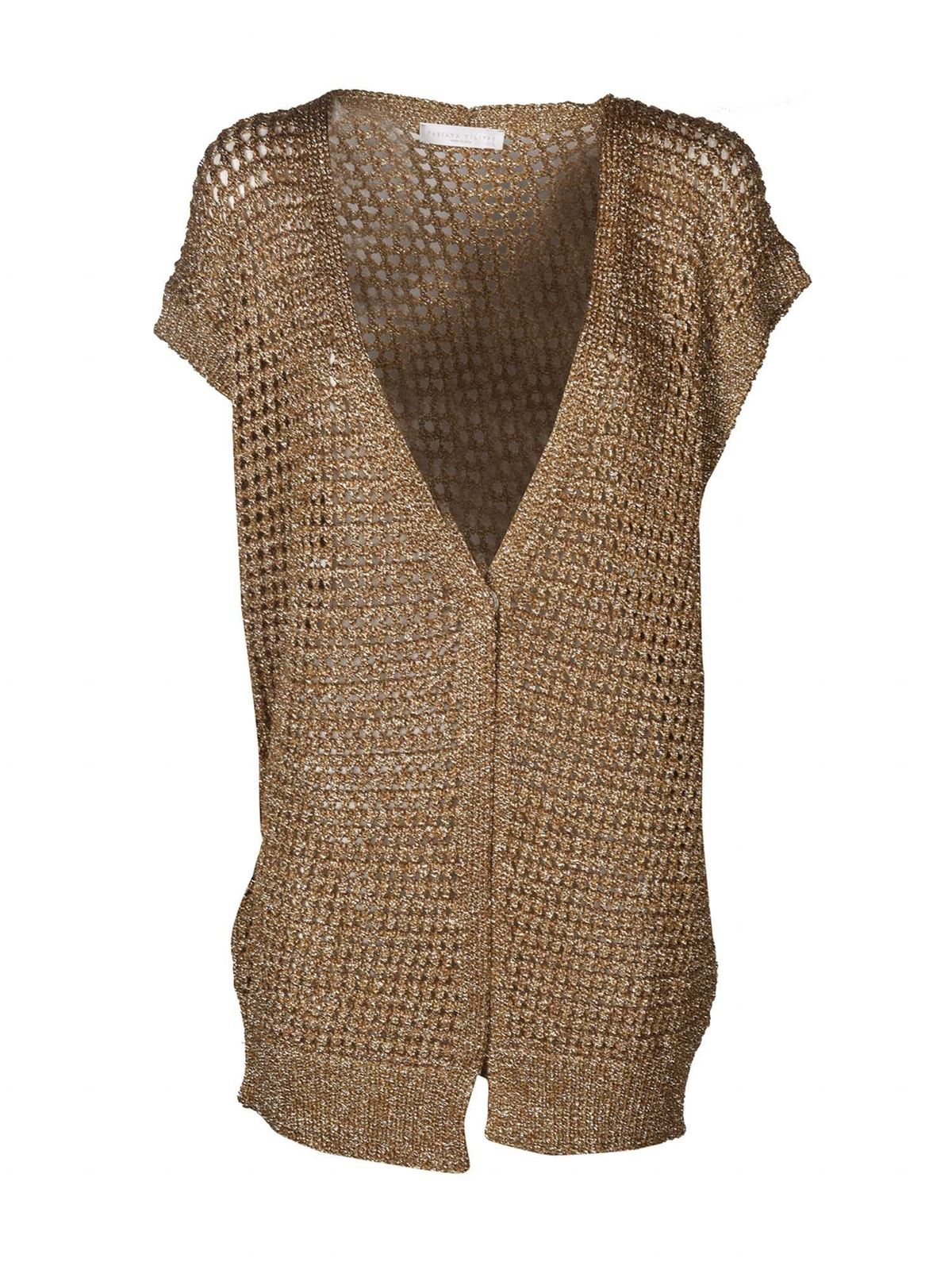 Fabiana Filippi DRILLED CARDIGAN IN BRONZE COLOR