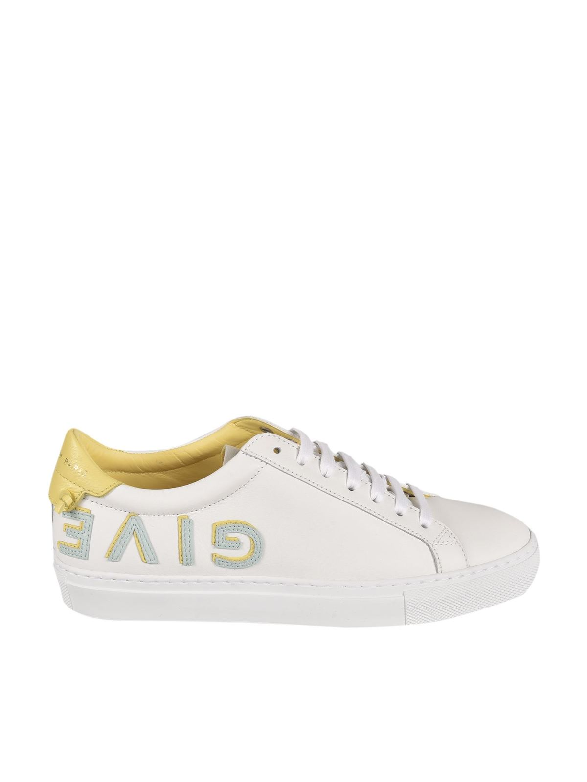Givenchy Leathers URBAN STREET SNEAKERS IN WHITE AND YELLOW