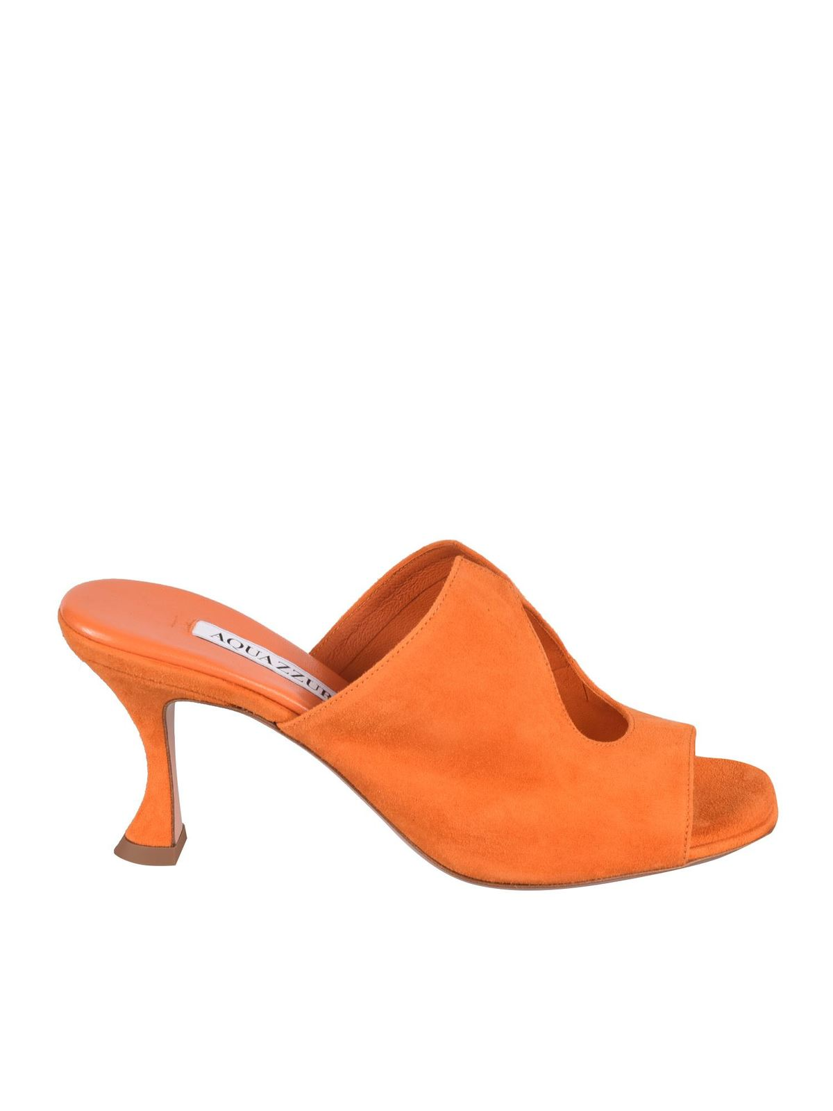 Aquazzura Leathers SEXY THING 75 SANDALS IN PAPAYA COLOR