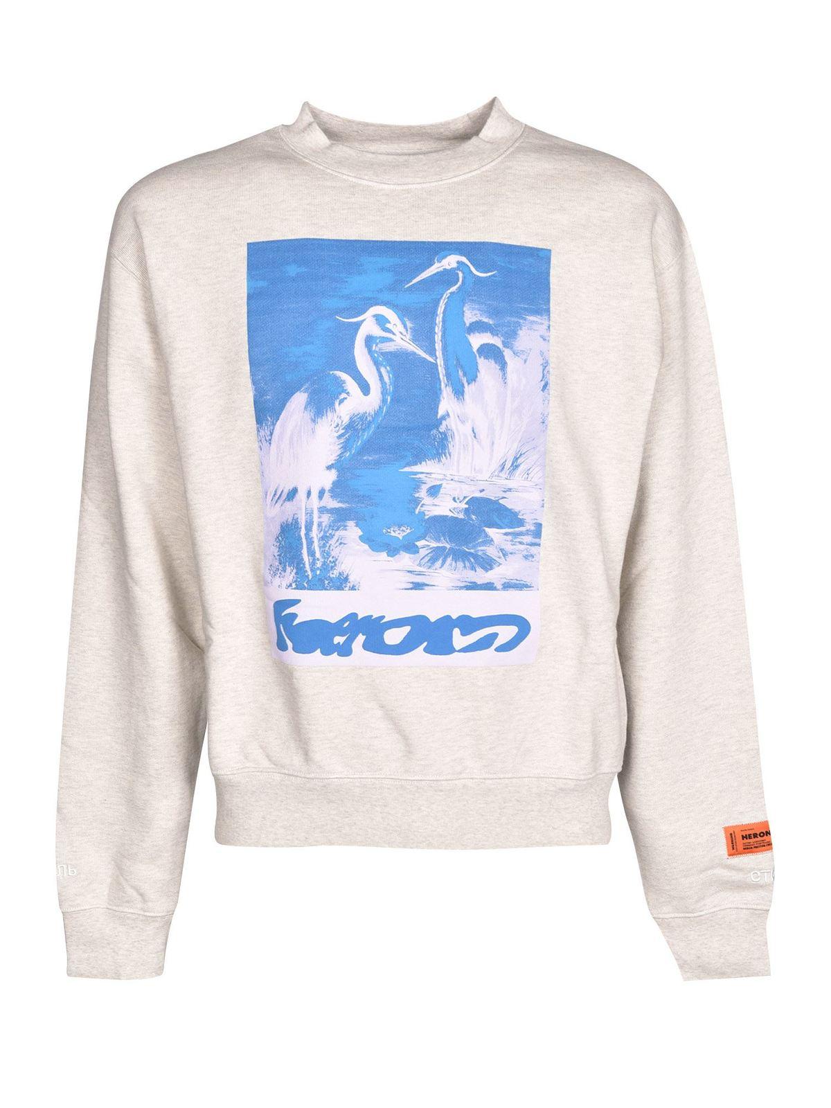 Heron Preston Cottons CAPTCHA SWEATSHIRT IN GRAY MELANGE