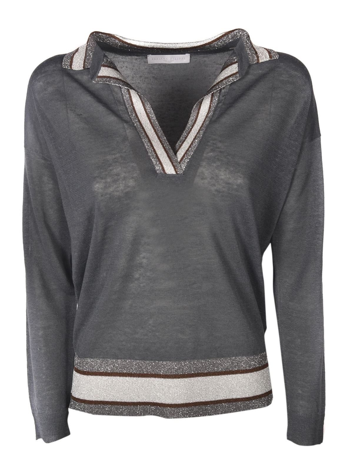 Fabiana Filippi V-NECK SWEATER IN GREY