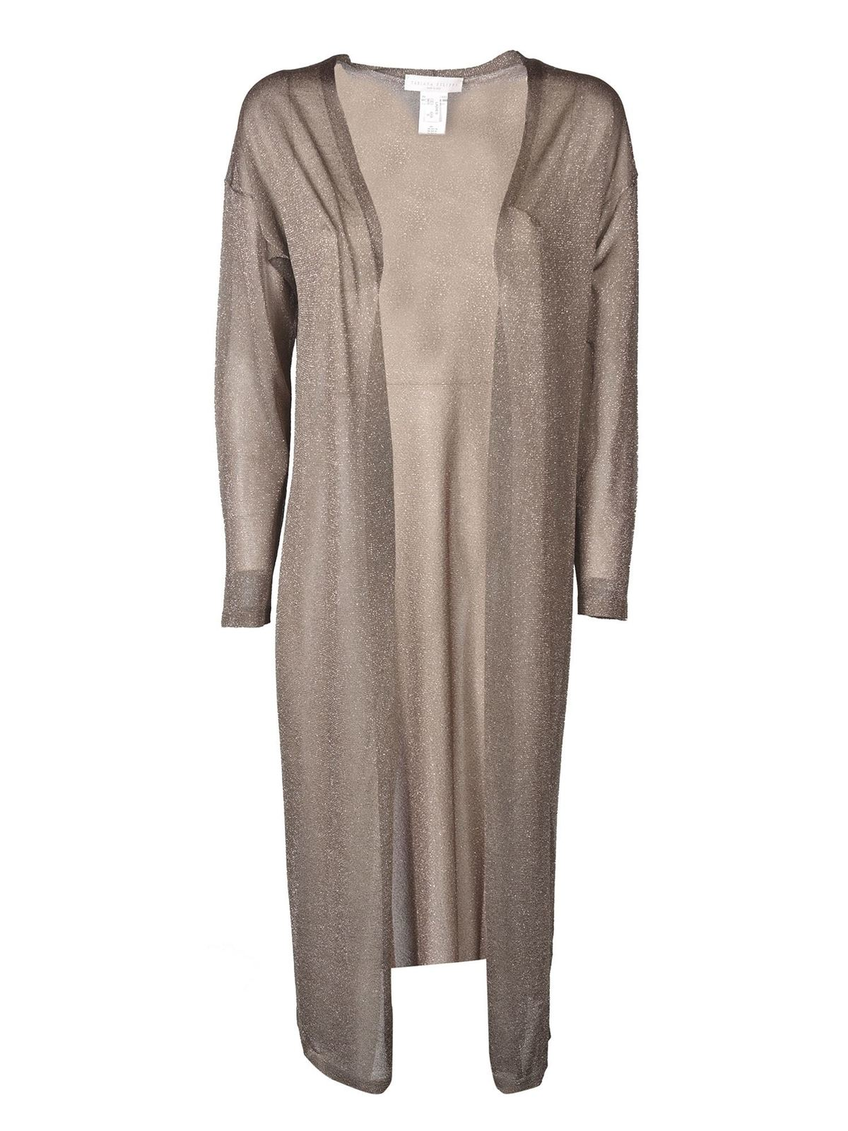 Fabiana Filippi LAME LONG CARDIGAN IN BRONZE COLOR