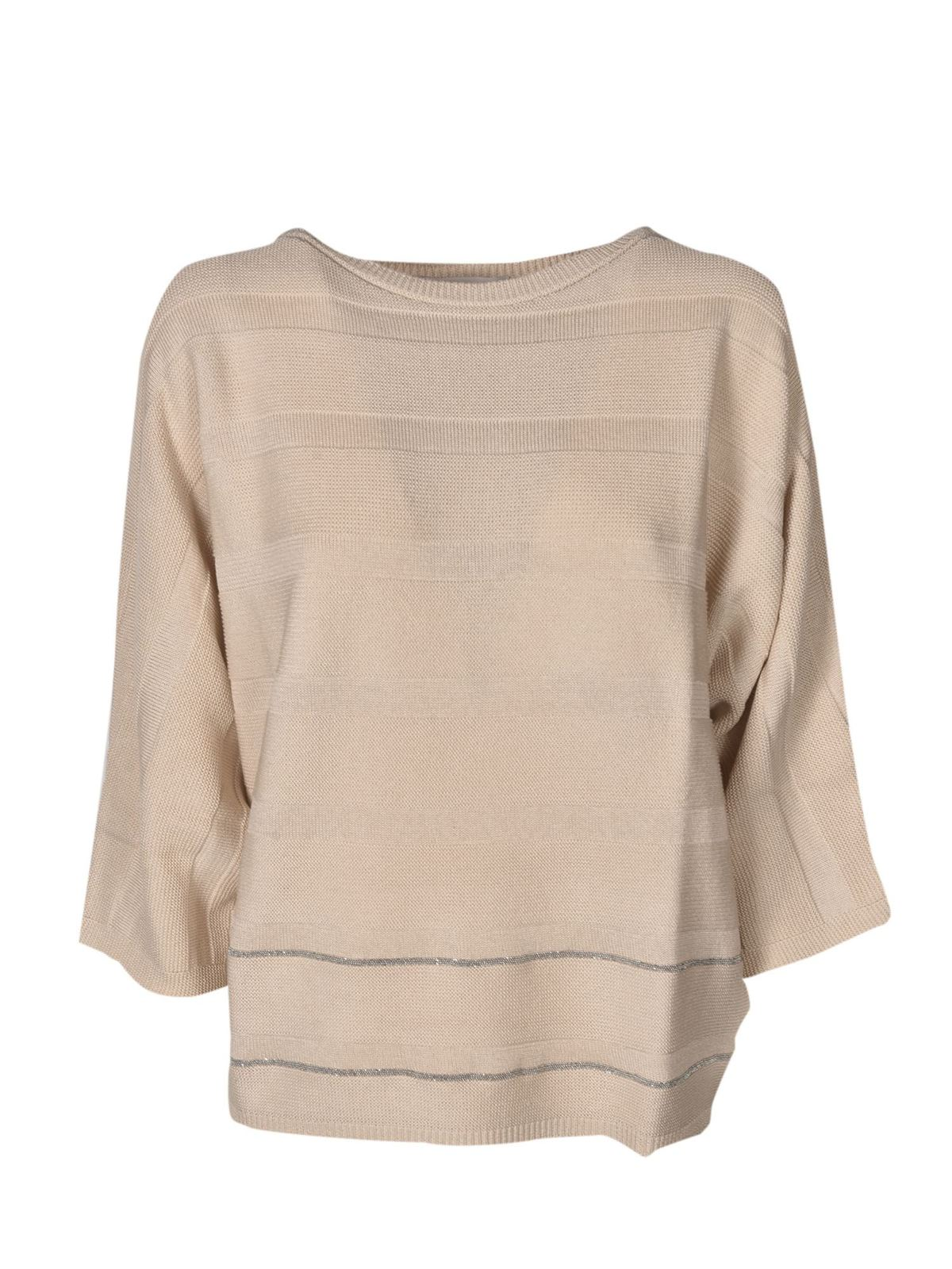 Fabiana Filippi LAME DETAIL SWEATER IN BEIGE