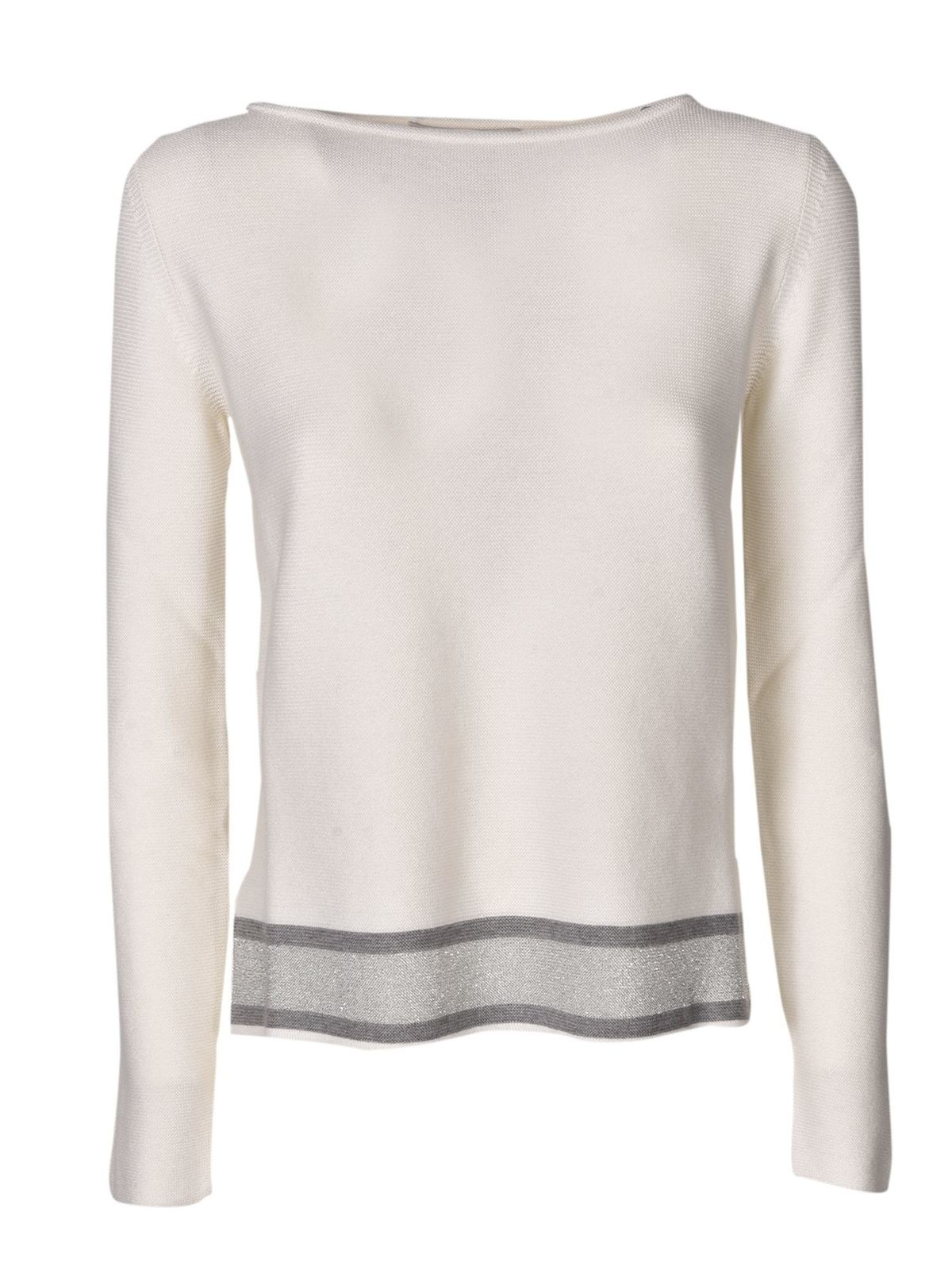 Fabiana Filippi BOAT NECKLINE SWEATER IN WHITE