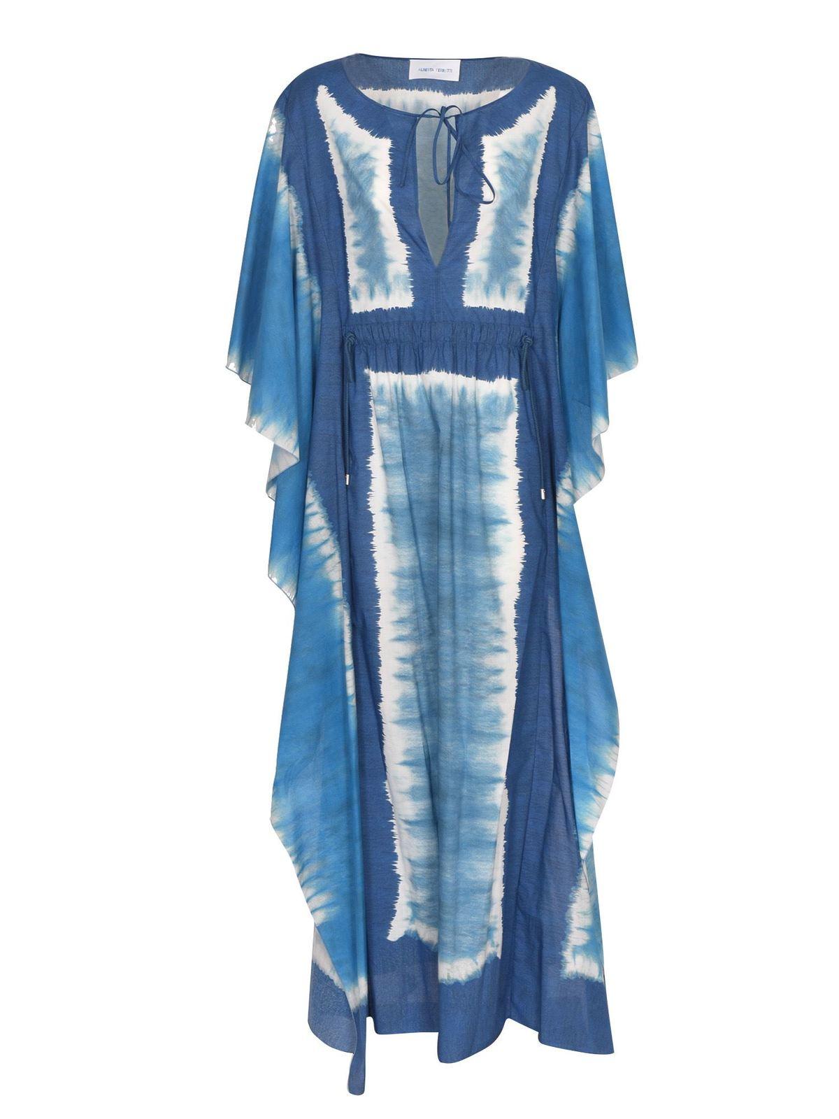 Alberta Ferretti TIE DYE TUNIC IN BLUE AND LIGHT BLUE