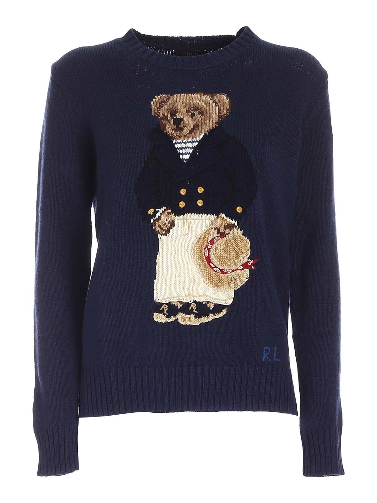 Polo Ralph Lauren Cottons BEAR INLAY SWEATER IN BLUE