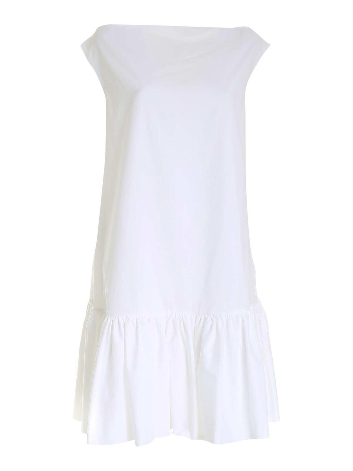 L'autre Chose FLOUNCED DRESS IN WHITE