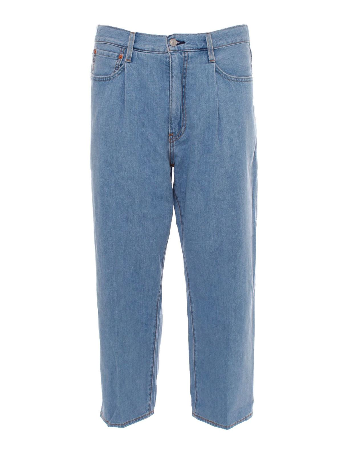 Levi's Cottons STAY LOOSE CROPPED JEANS IN BLUE