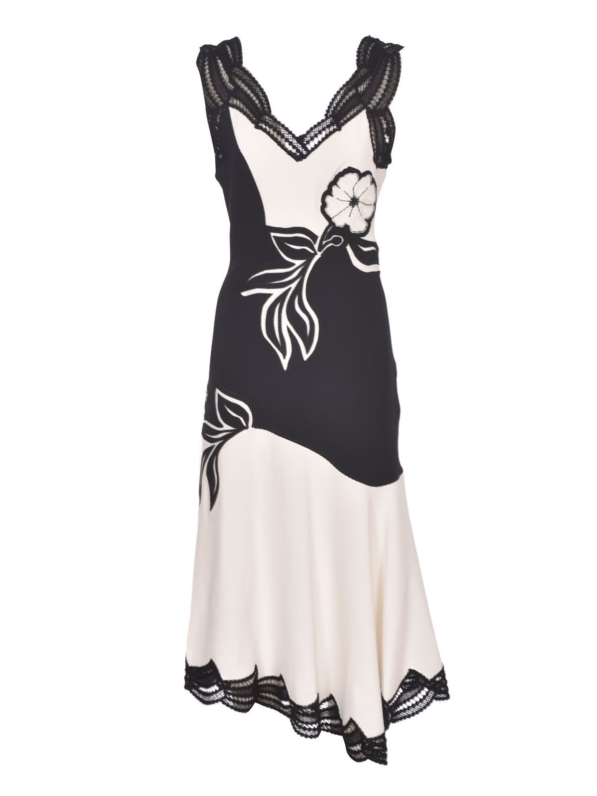 Ermanno Scervino TWO-TONE FLORAL EMBROIDERY DRESS IN WHITE